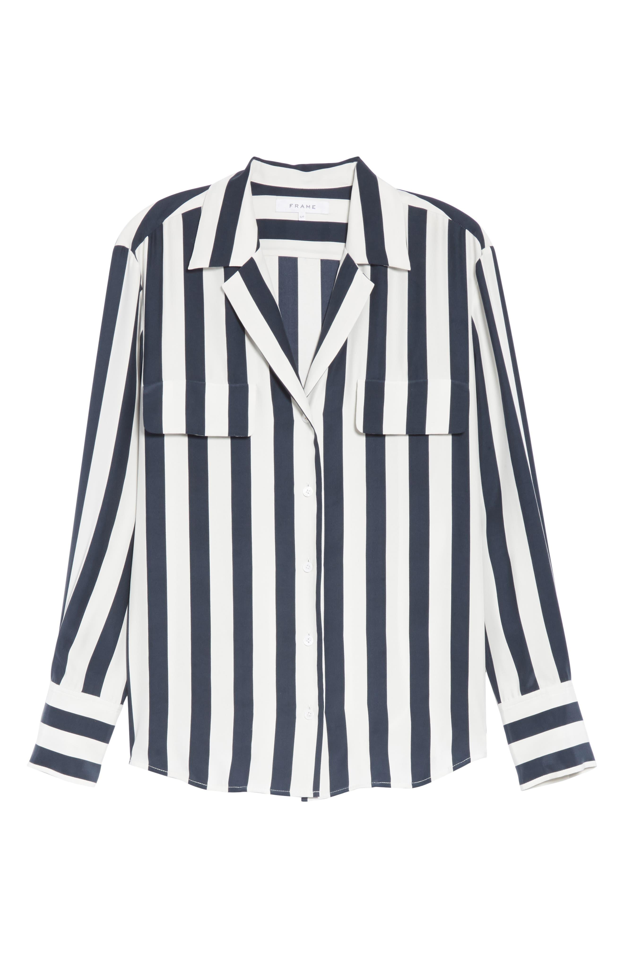 Stripe Silk Shirt,                             Alternate thumbnail 6, color,                             NAVY MULTI