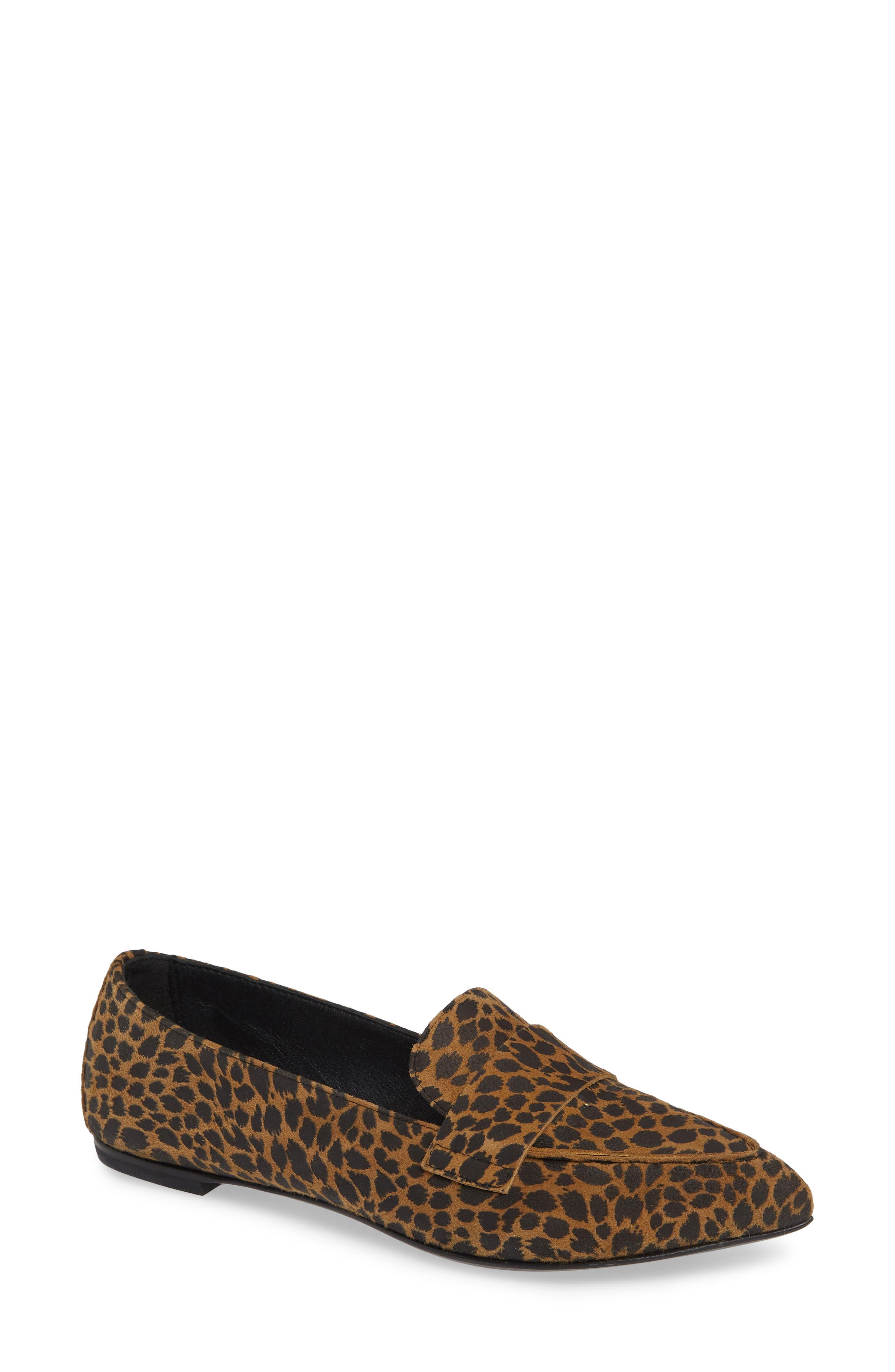 AGL ATTILIO GIUSTI LEOMBRUNI Softy Pointy Toe Moccasin Loafer in Leopard Leather