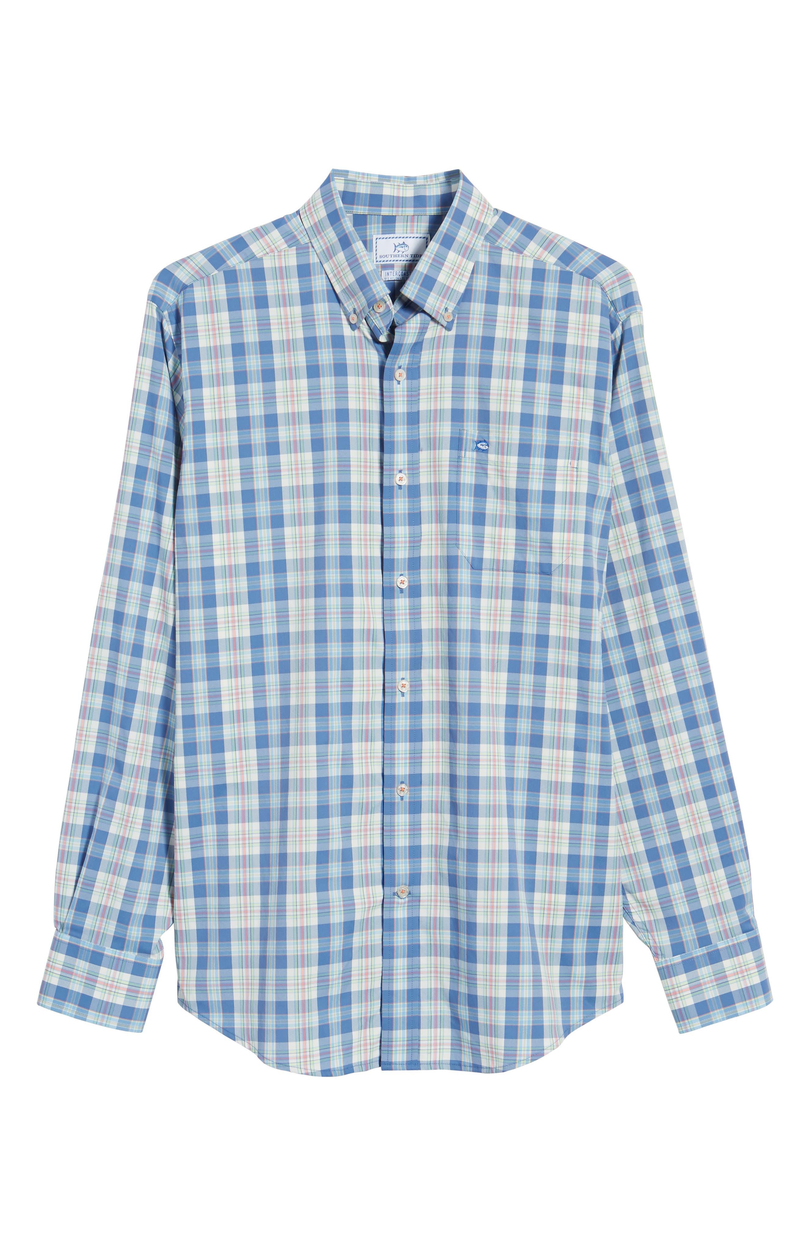 Great Harbor Regular Fit Plaid Stretch Sport Shirt,                             Alternate thumbnail 6, color,                             466