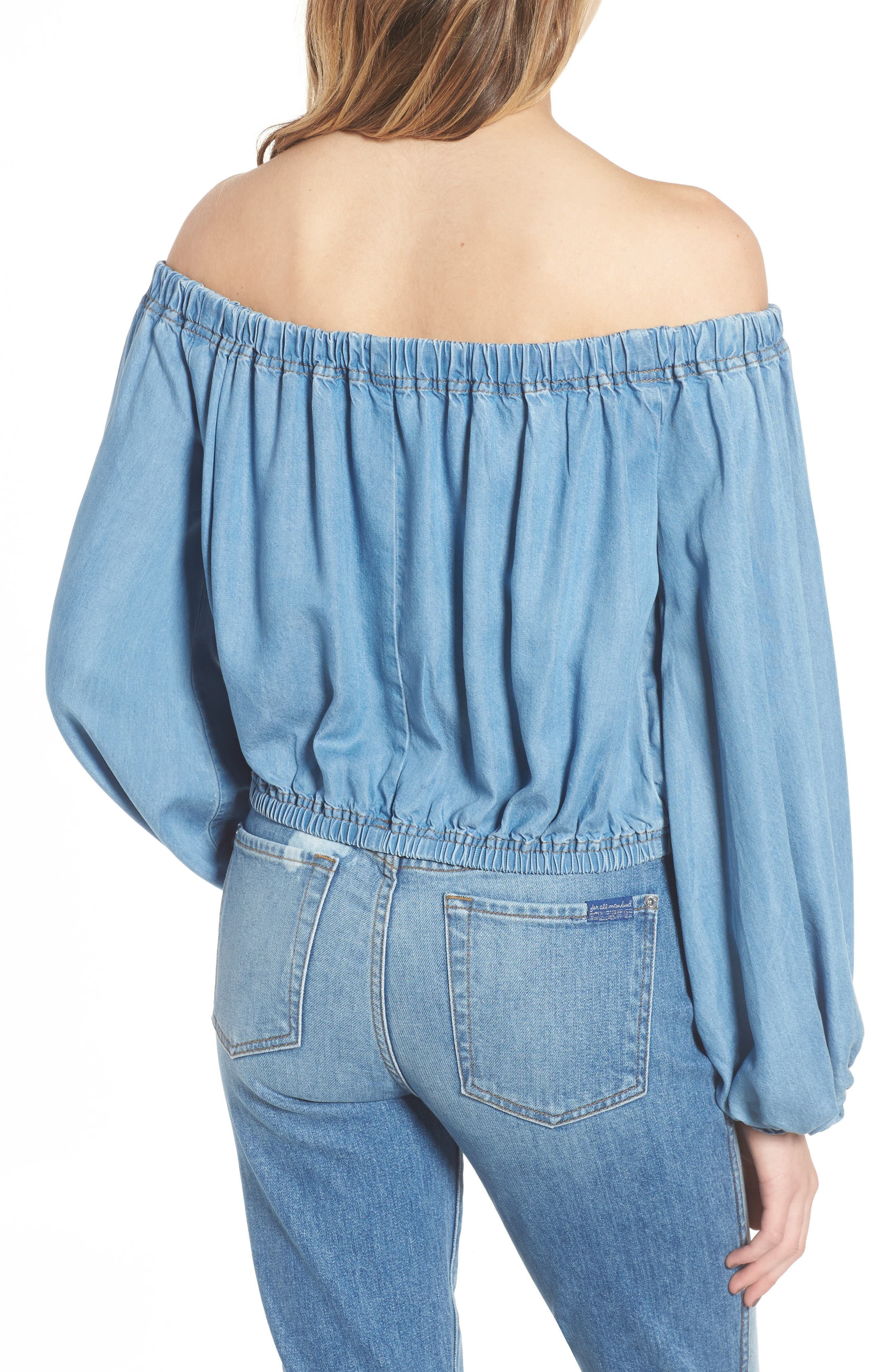 Blouson Off the Shoulder Denim Top,                             Alternate thumbnail 2, color,                             401