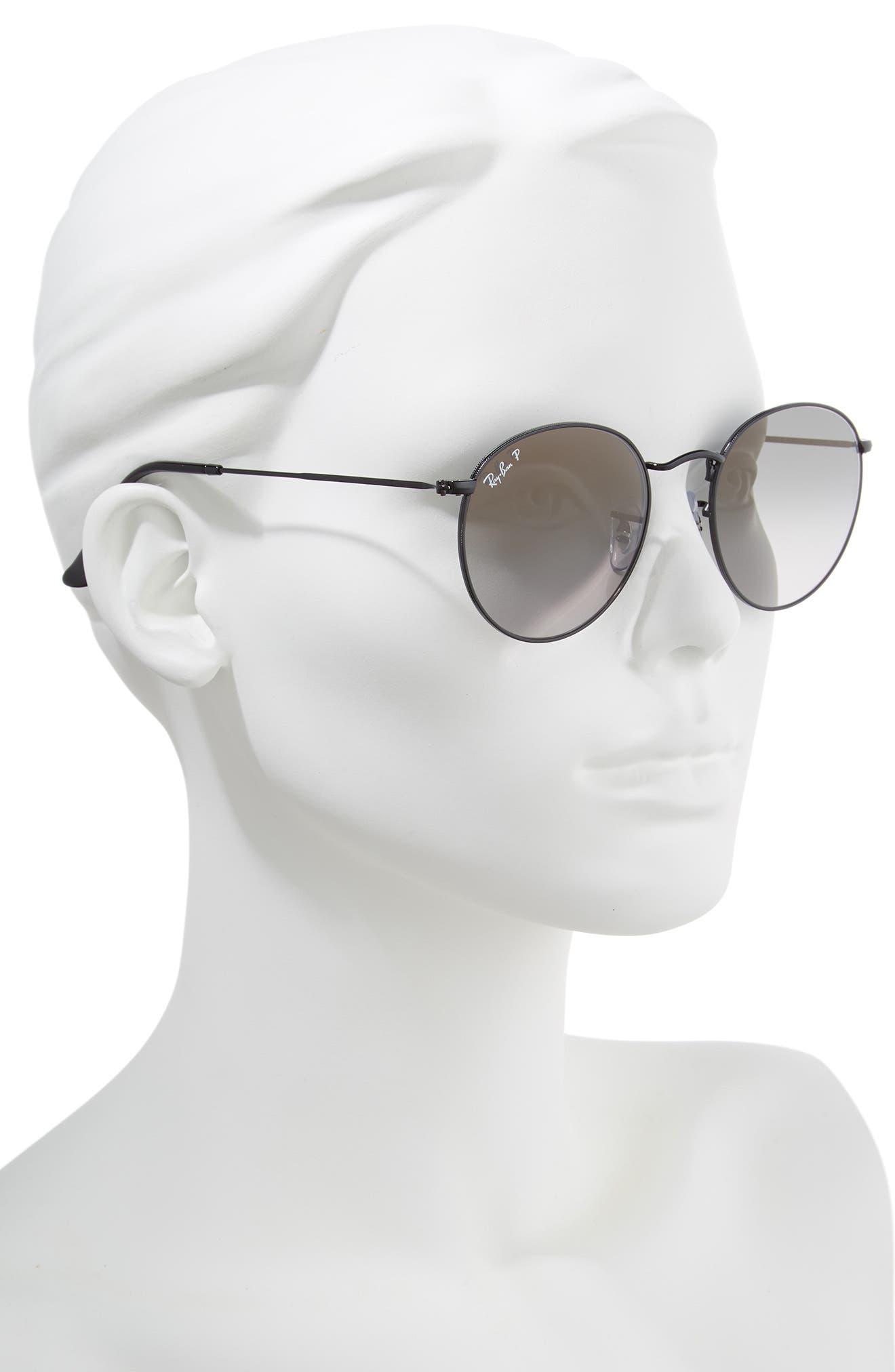 53mm Polarized Round Sunglasses,                             Alternate thumbnail 2, color,                             BLACK GRADIENT