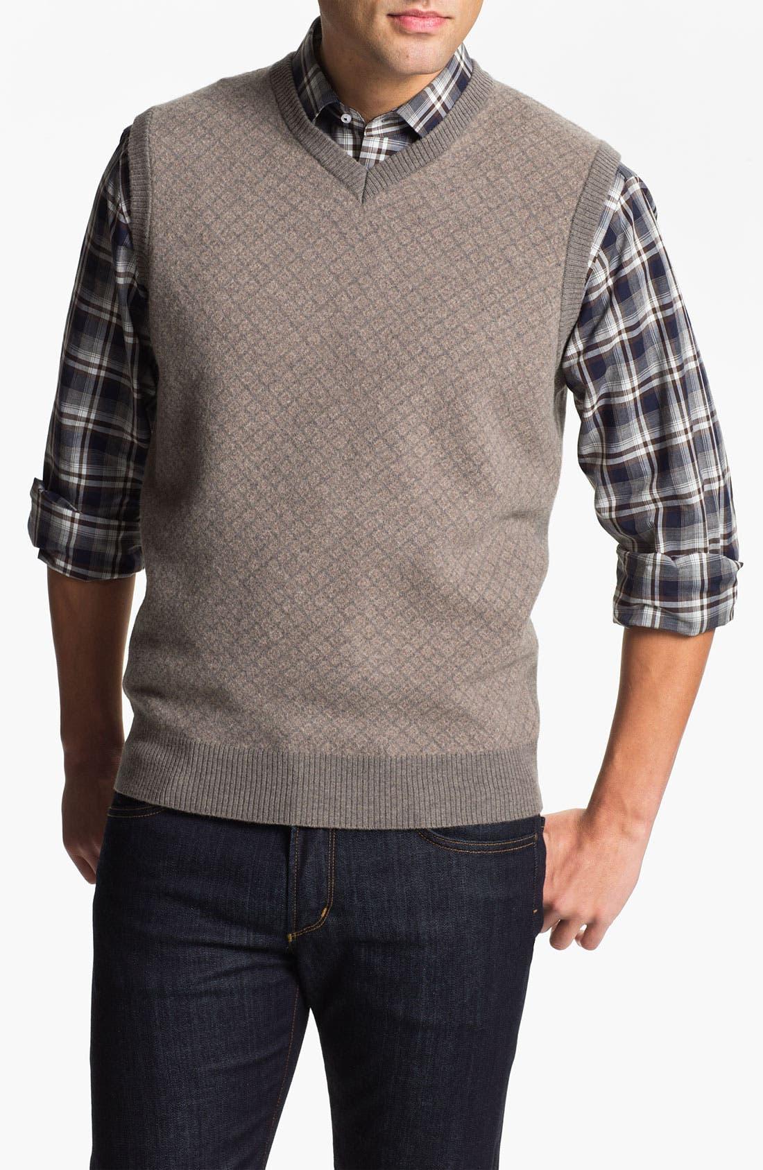 FRANCO DANTI,                             V-Neck Wool Sweater Vest,                             Main thumbnail 1, color,                             200
