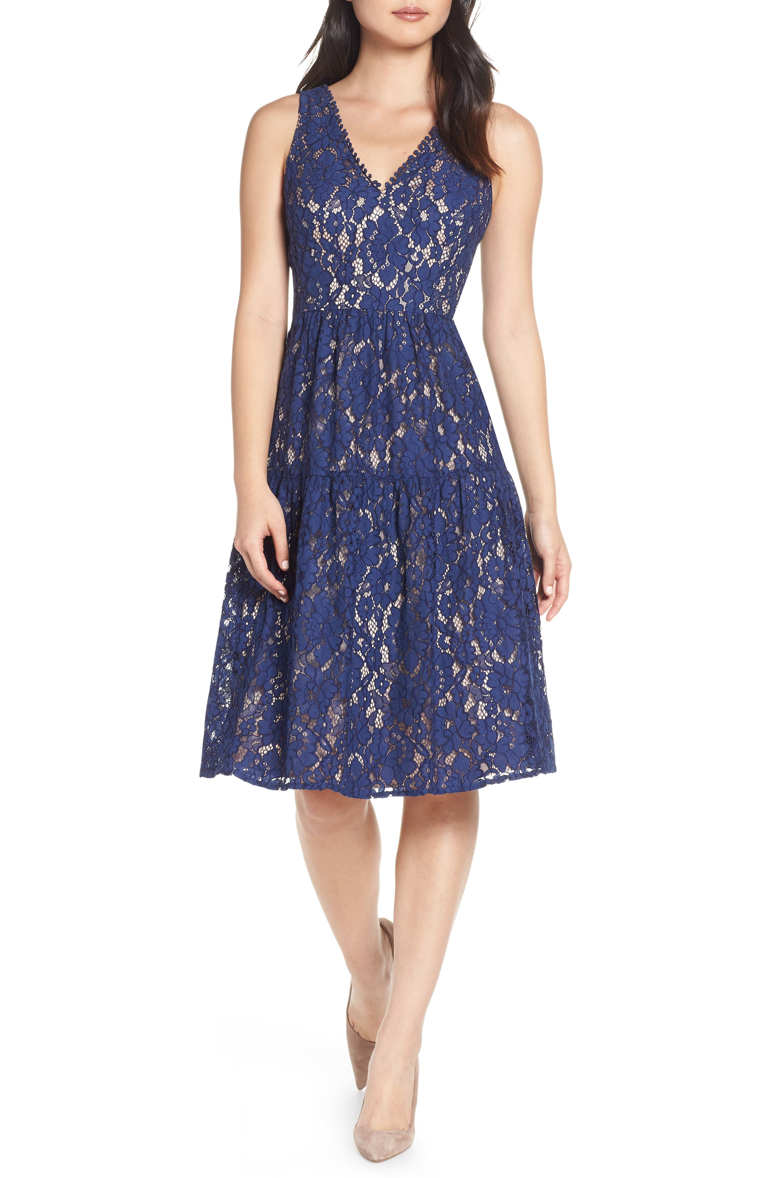 Lace Fit & Flare Dress,                             Main thumbnail 1, color,                             NAVY