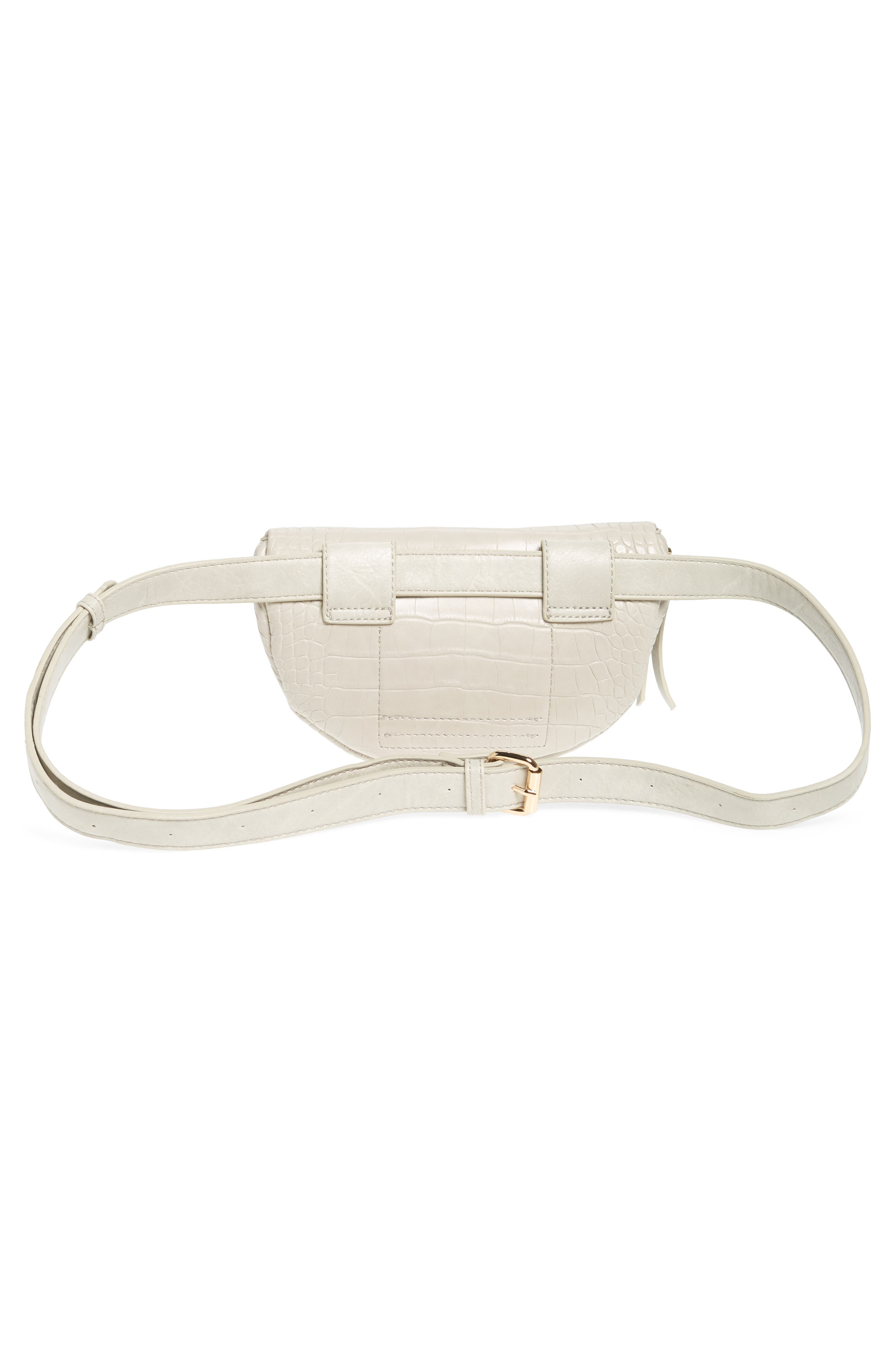 Embossed Faux Leather Belt Bag,                             Alternate thumbnail 4, color,                             IVORY