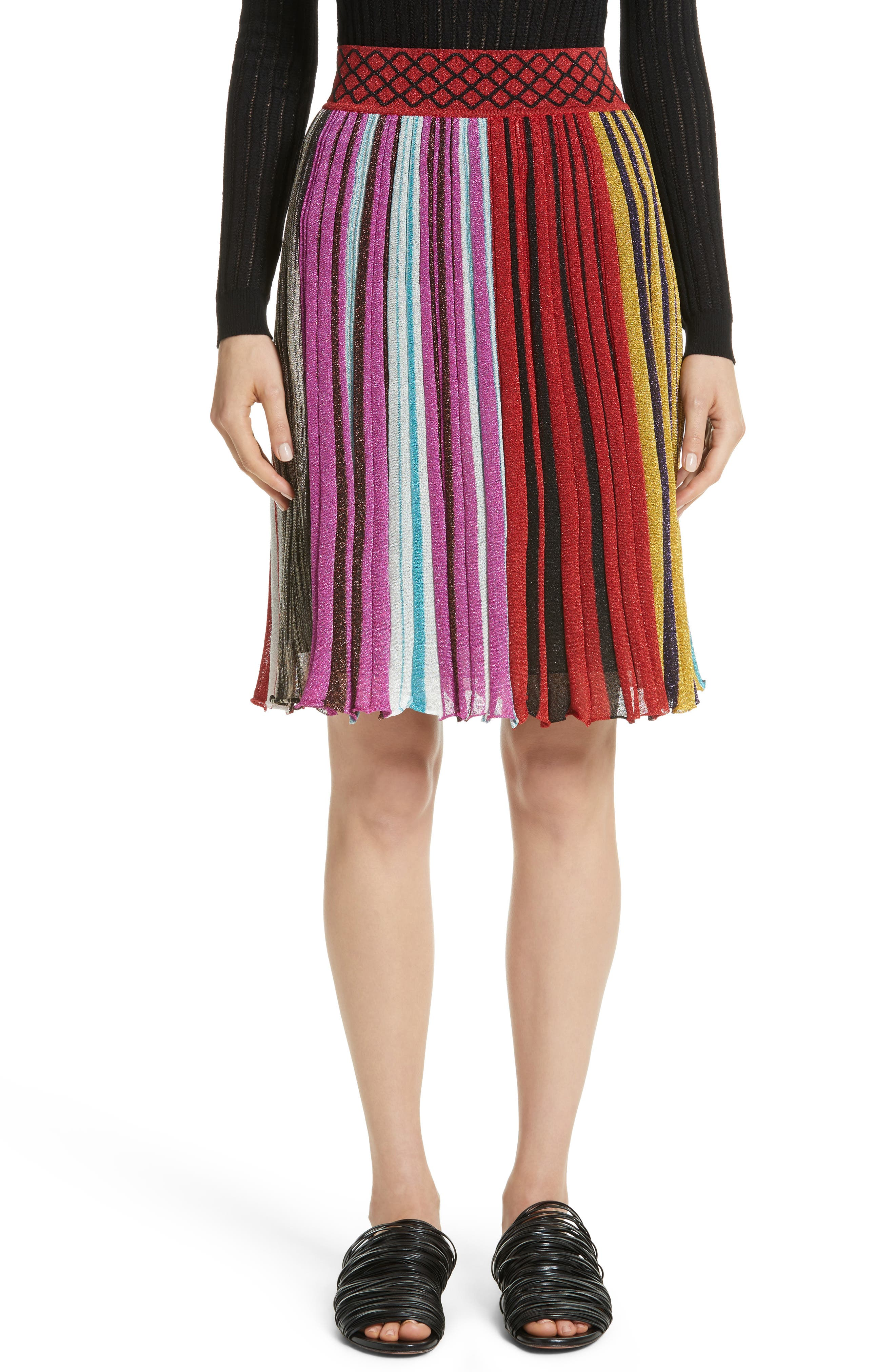 Metallic Stripe Skirt,                             Main thumbnail 1, color,                             640