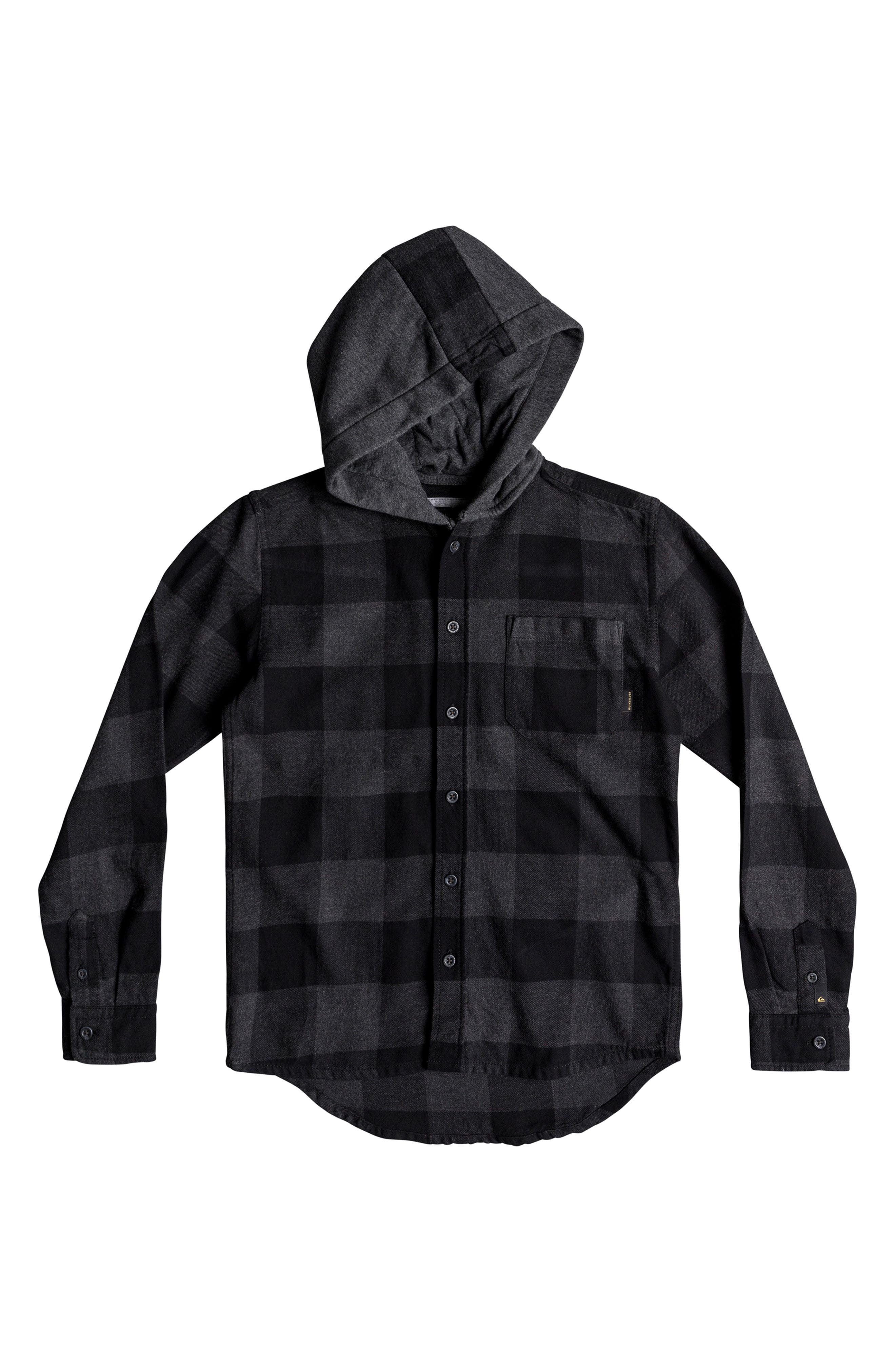 Motherfly Hooded Flannel Shirt, Main, color, BLACK