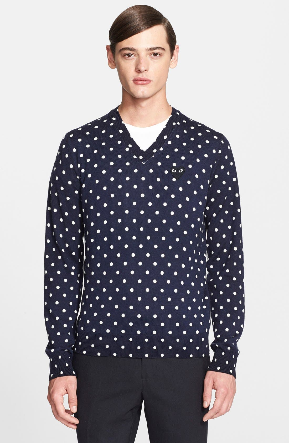 PLAY Dot Pattern V-Neck Sweater, Main, color, 410