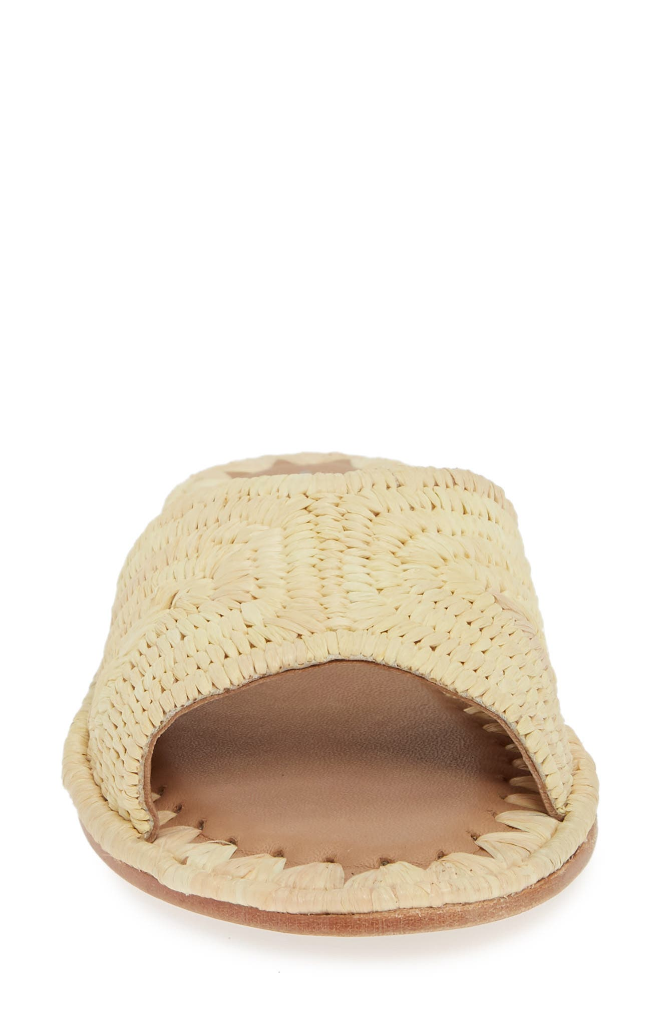 Dane Raffia Slide Sandal,                             Alternate thumbnail 4, color,                             NATURAL RAFFIA