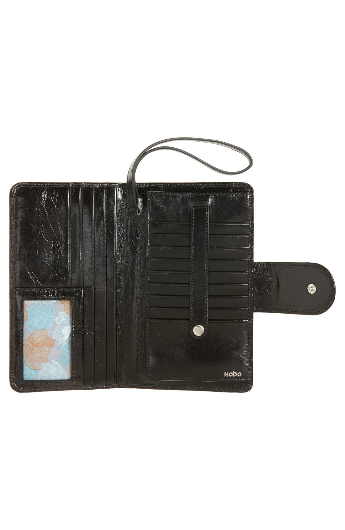 Danette Glazed Continental Wallet,                             Alternate thumbnail 2, color,                             BLACK