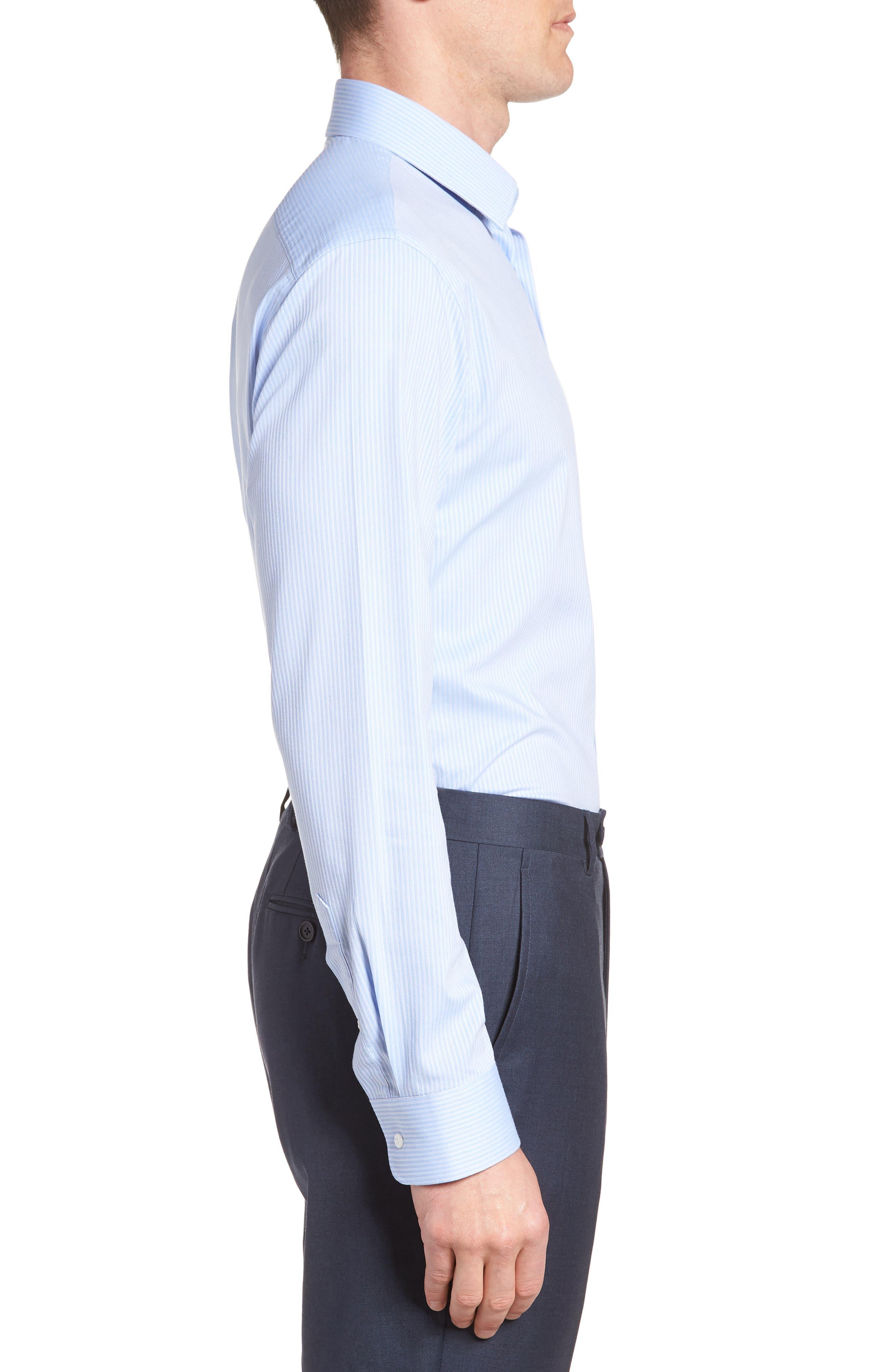Tech-Smart Trim Fit Stretch Stripe Dress Shirt,                             Alternate thumbnail 4, color,                             450