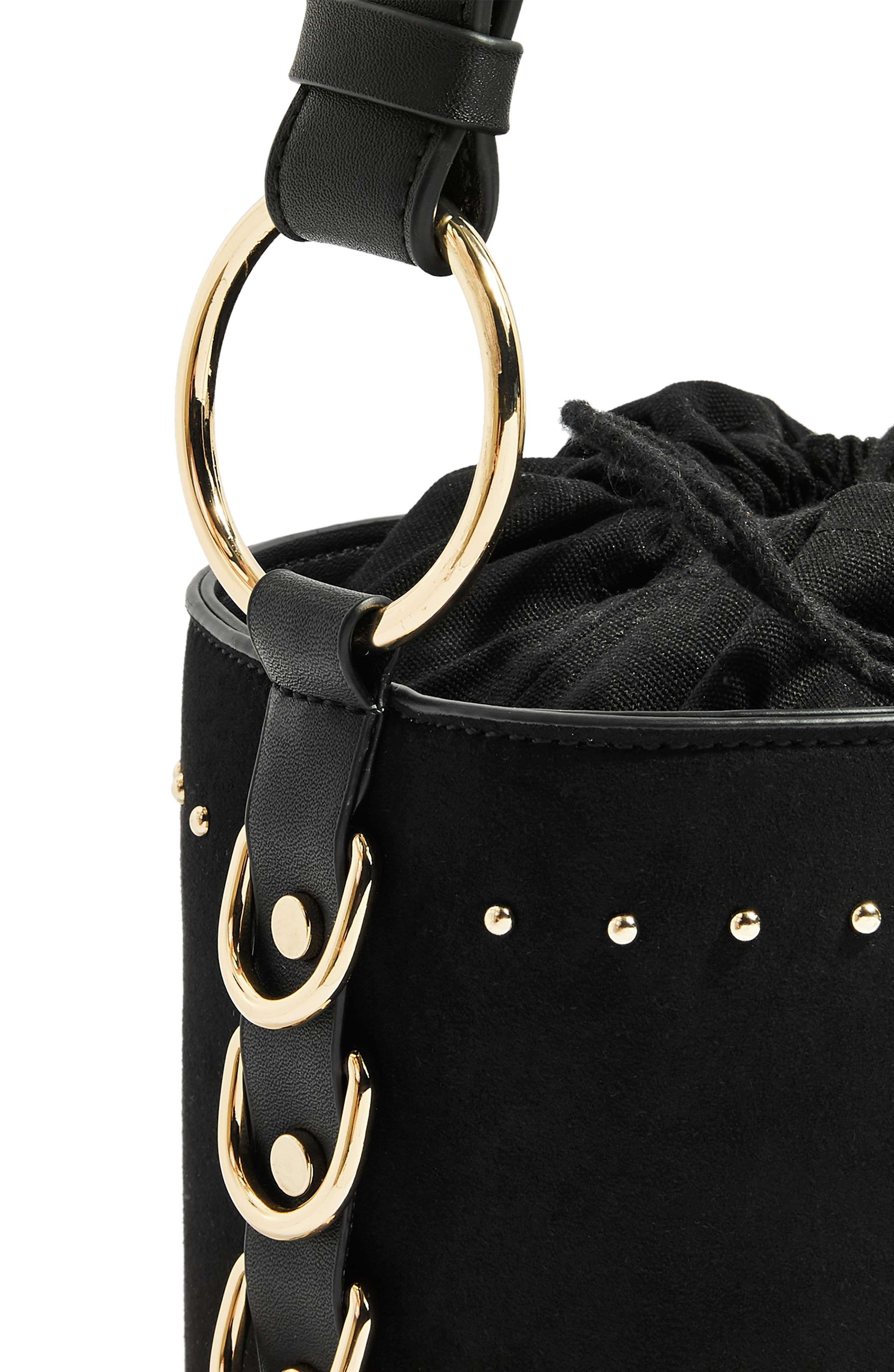 Bianca Studded Faux Leather Bucket Bag,                             Alternate thumbnail 7, color,                             001