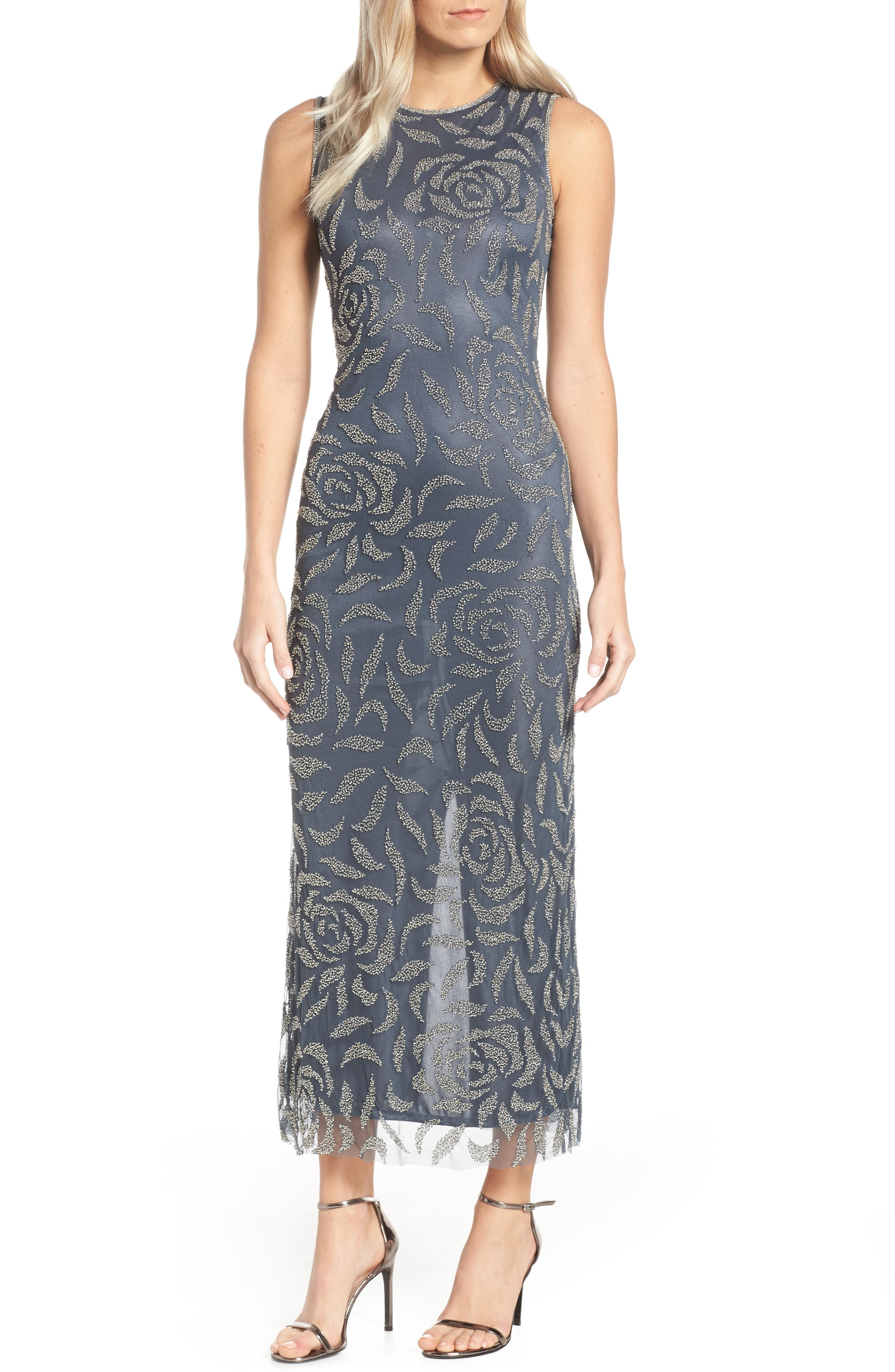 Petite Pisarro Nights Beaded Rose Motif Evening Dress, Grey