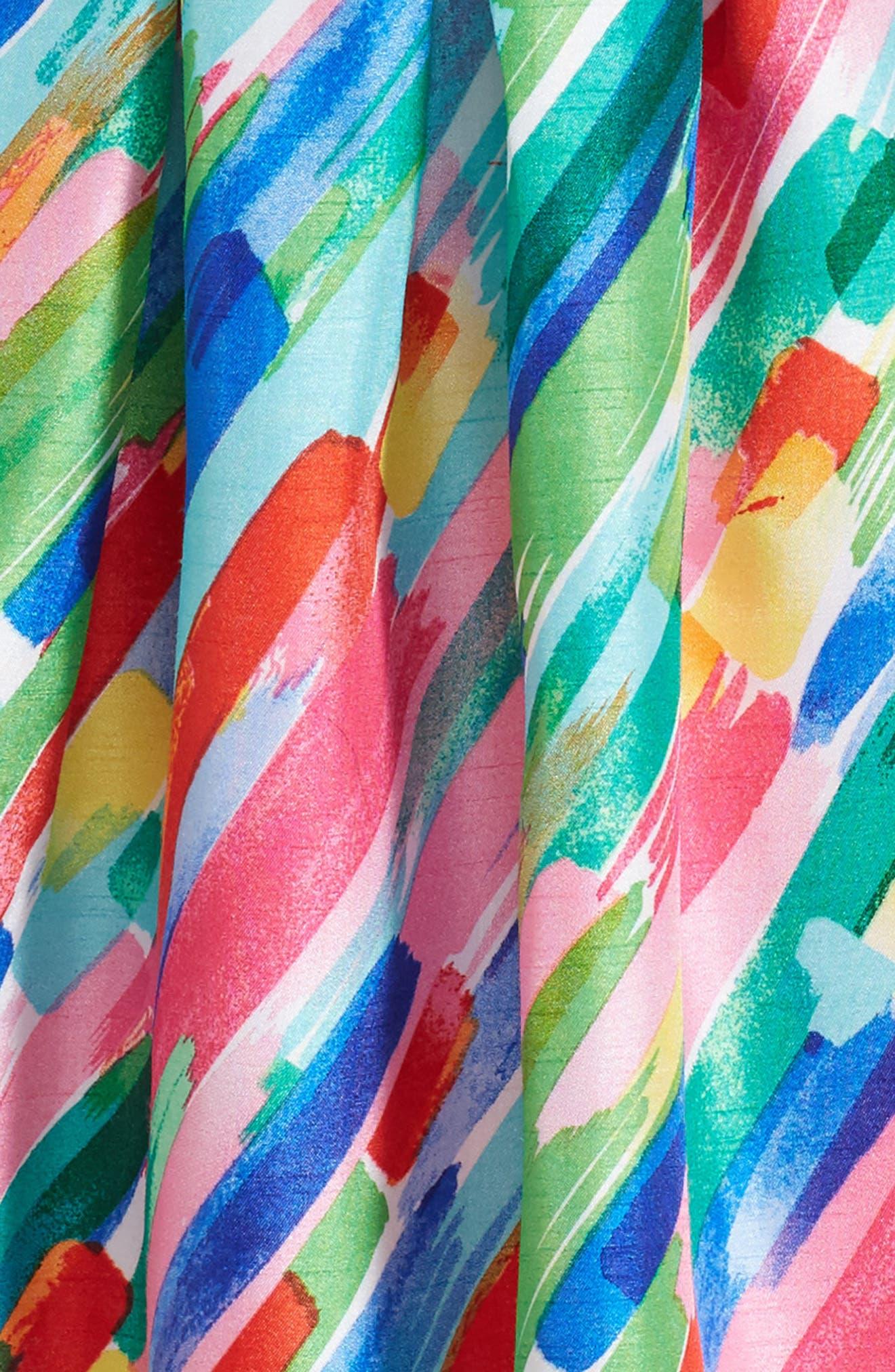 Paintstroke Print Shantung Party Dress,                             Alternate thumbnail 3, color,                             670