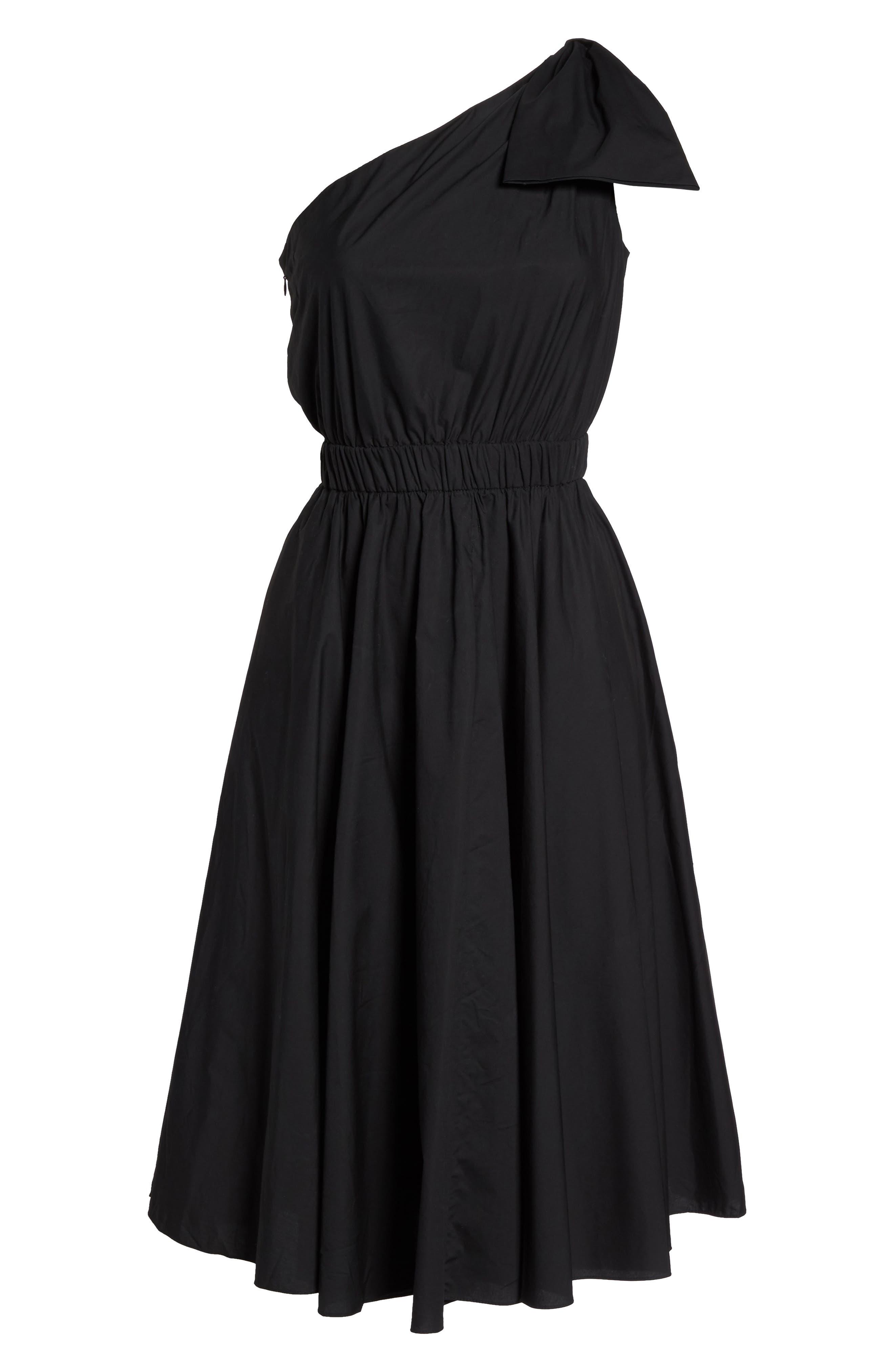 One-Shoulder Fit & Flare Dress,                             Alternate thumbnail 6, color,                             001