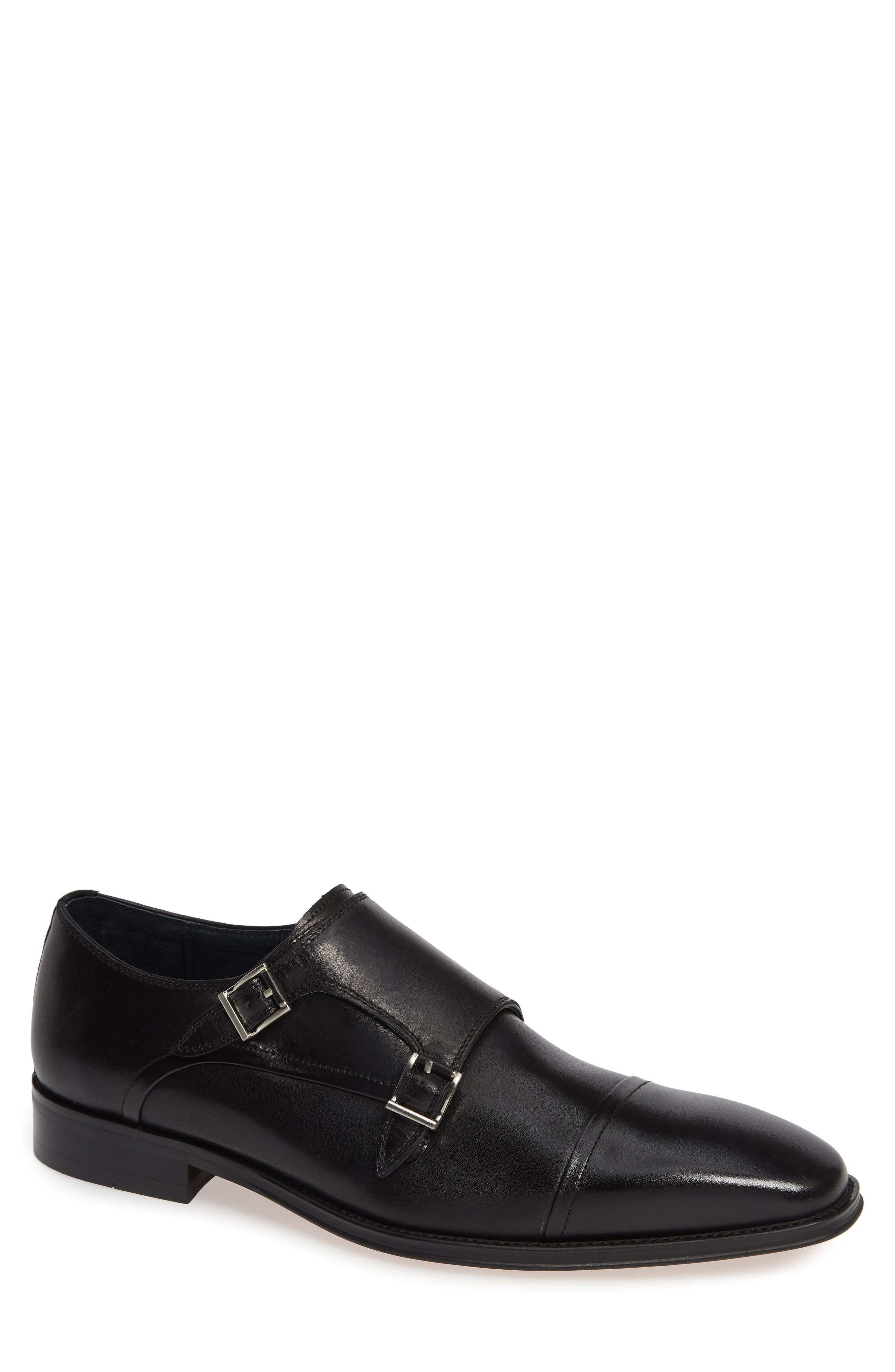 Mario Double Monk Strap Shoe, Main, color, BLACK LEATHER