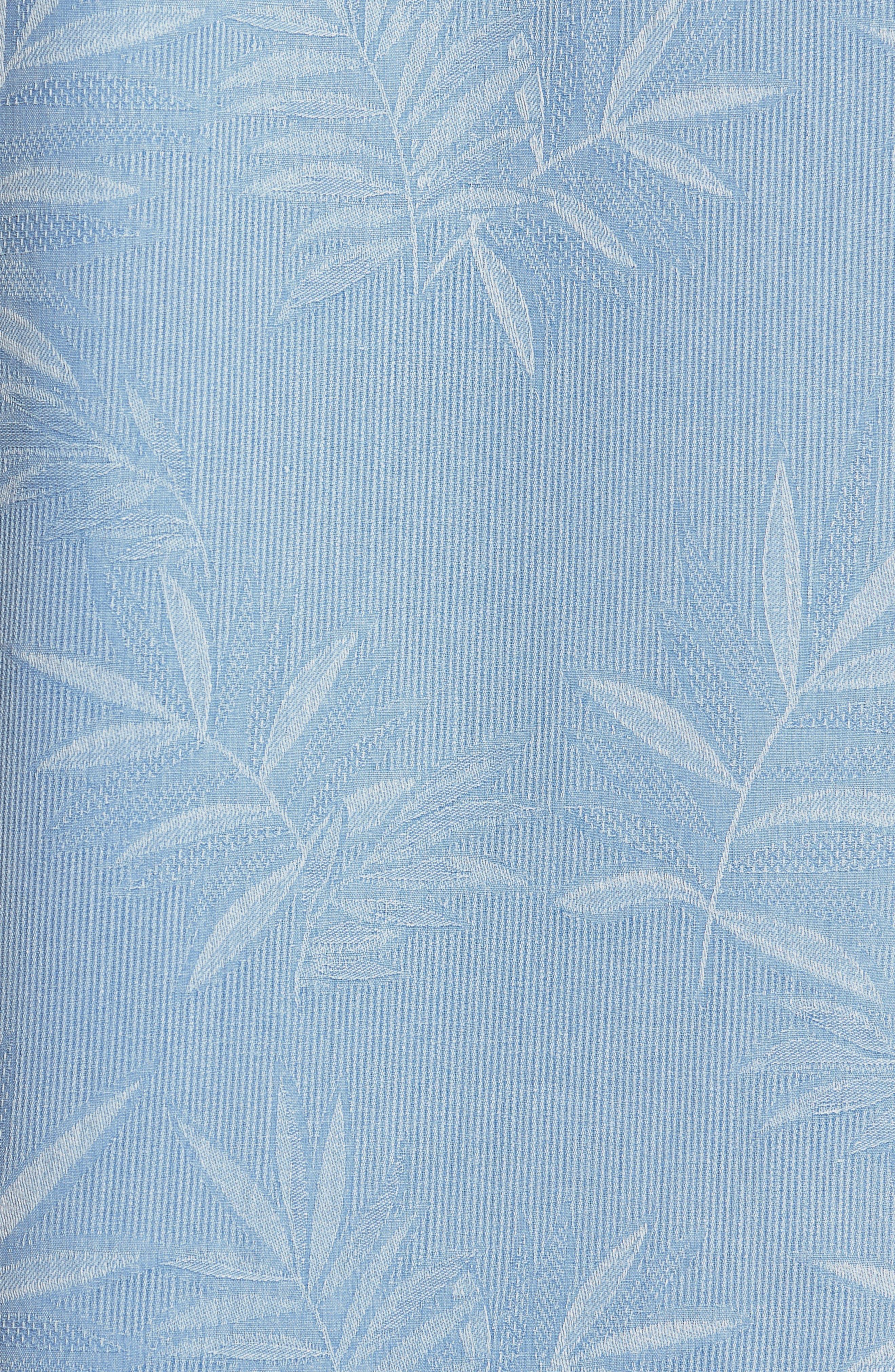 Luau Floral Silk Shirt,                             Alternate thumbnail 5, color,                             LIGHT SKY