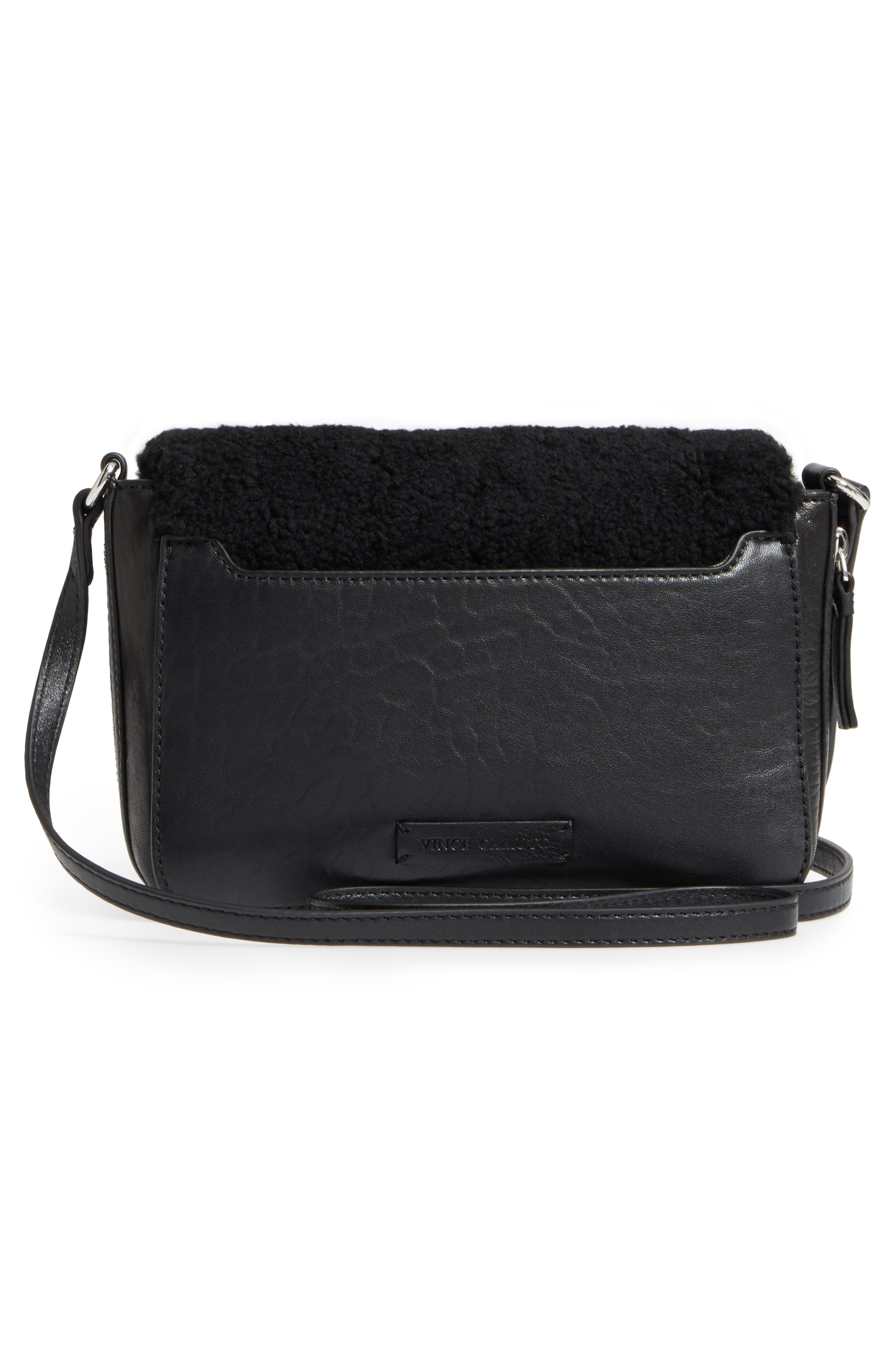 Delos Genuine Shearling & Leather Crossbody Bag,                             Alternate thumbnail 3, color,                             002
