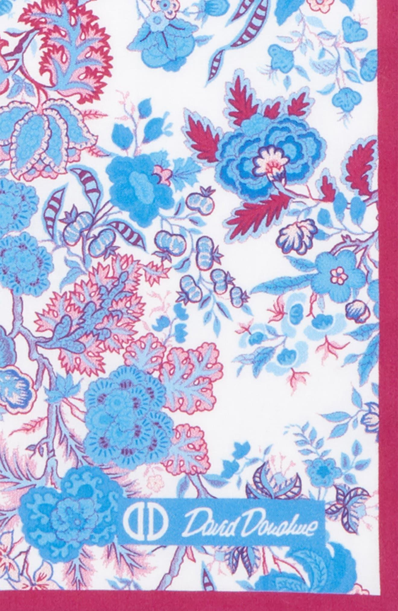 Floral Cotton Pocket Square,                             Alternate thumbnail 3, color,                             BERRY