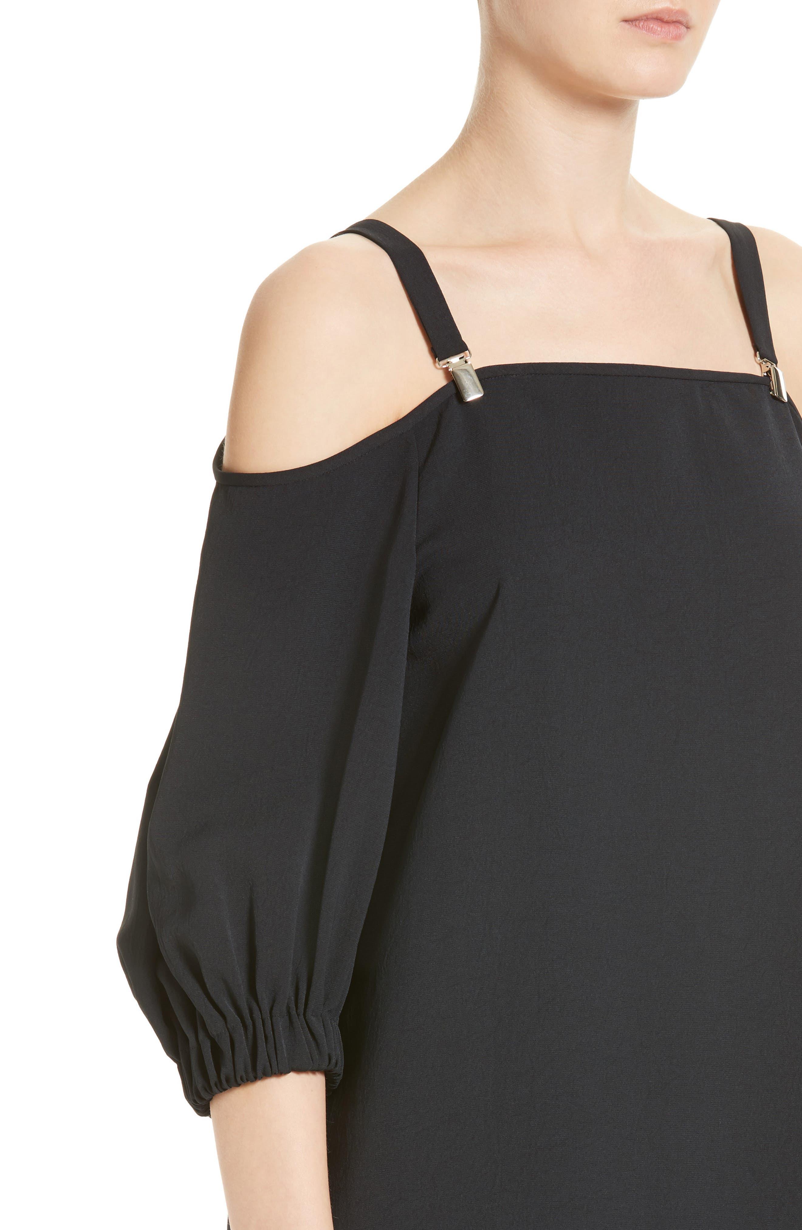 Cold Shoulder Suspender Shift Dress,                             Alternate thumbnail 4, color,                             001