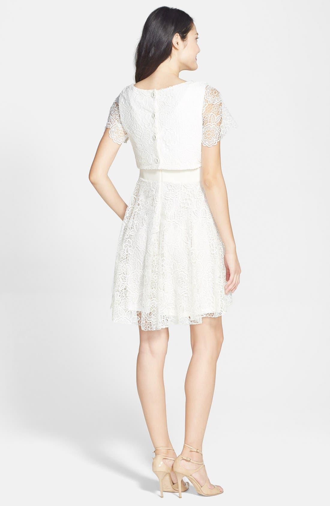 EVA FRANCO,                             'Mira' Lace & Crepe Popover Dress,                             Alternate thumbnail 3, color,                             100