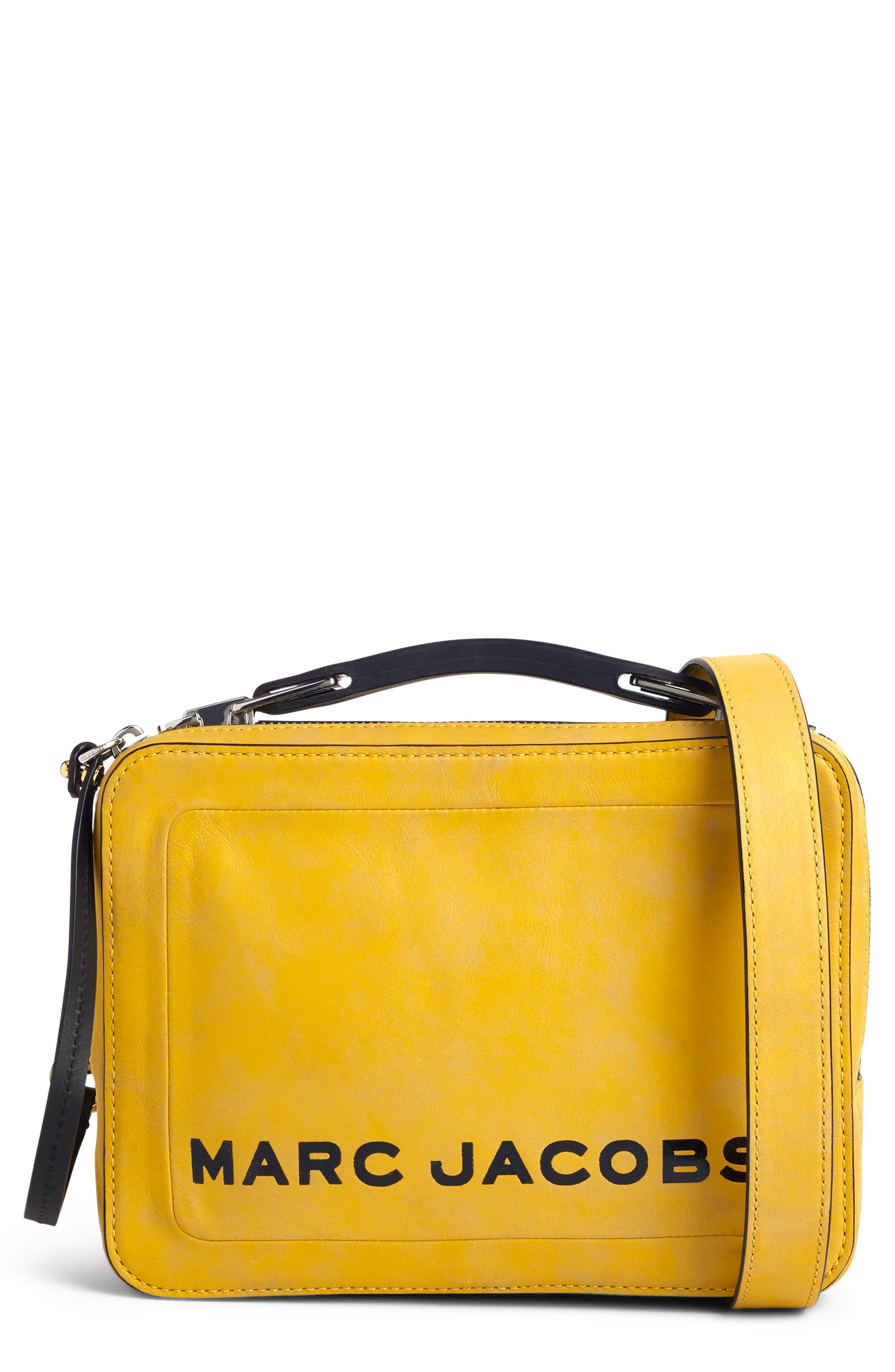 The Box Leather Handbag,                         Main,                         color, YELLOW
