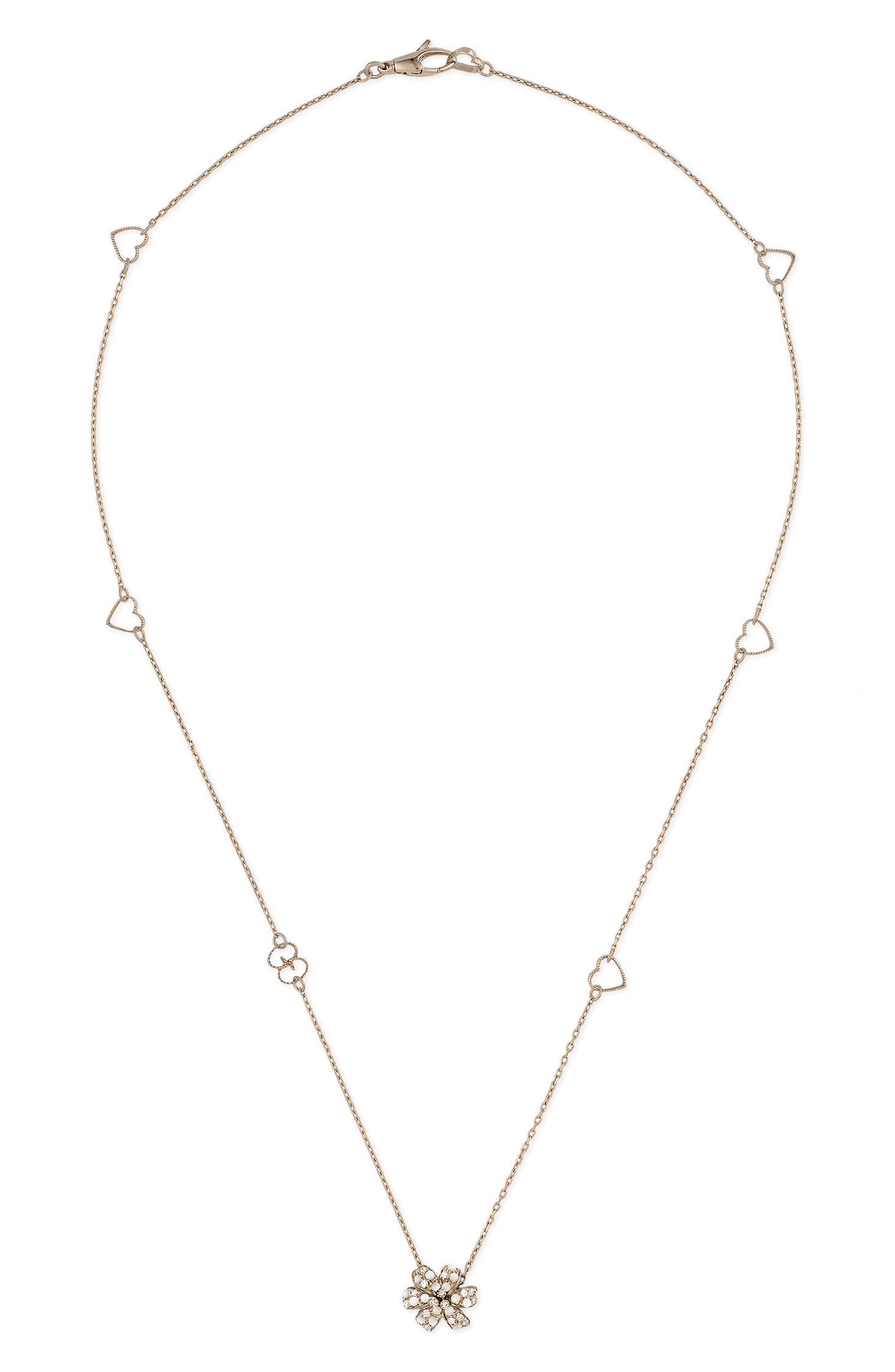 Flora Diamond Pendant Necklace,                             Main thumbnail 1, color,                             WHITE GOLD
