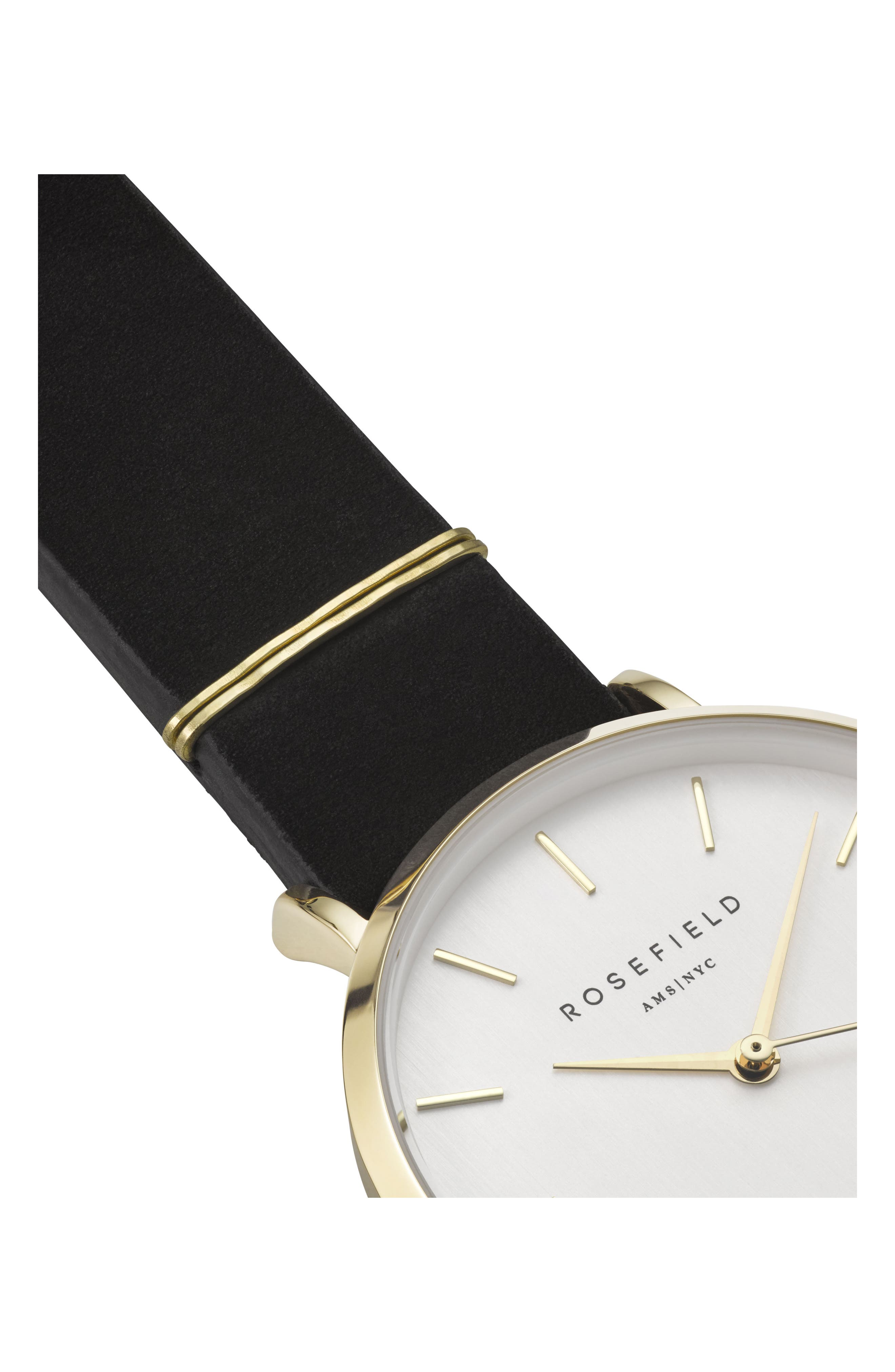 West Village Leather Strap Watch, 33mm,                             Alternate thumbnail 3, color,                             BLACK/ WHITE/ GOLD