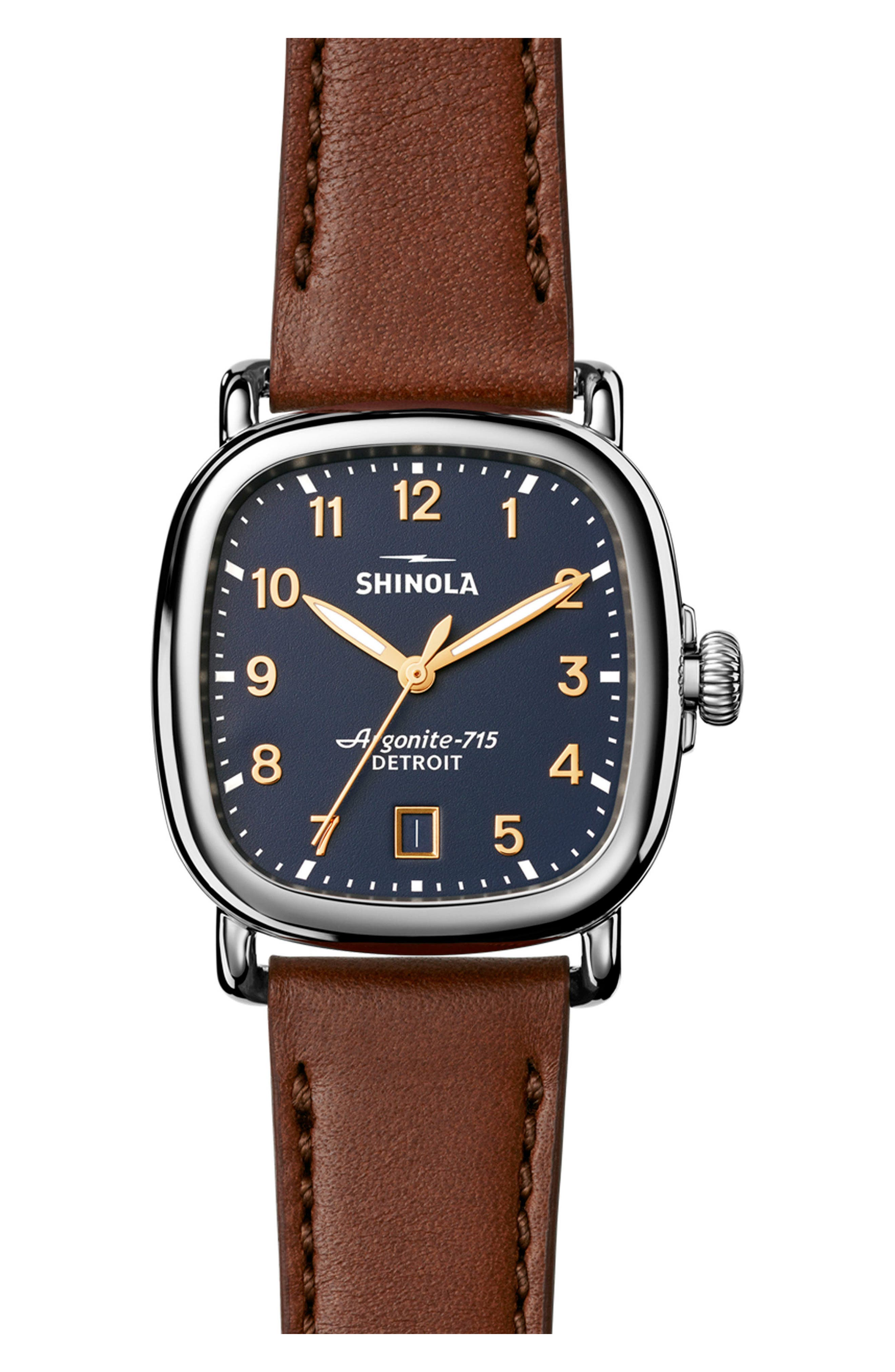 The Guardian Leather Strap Watch, 36mm,                         Main,                         color, BROWN/ MDNGHTBLUE/ SILVER