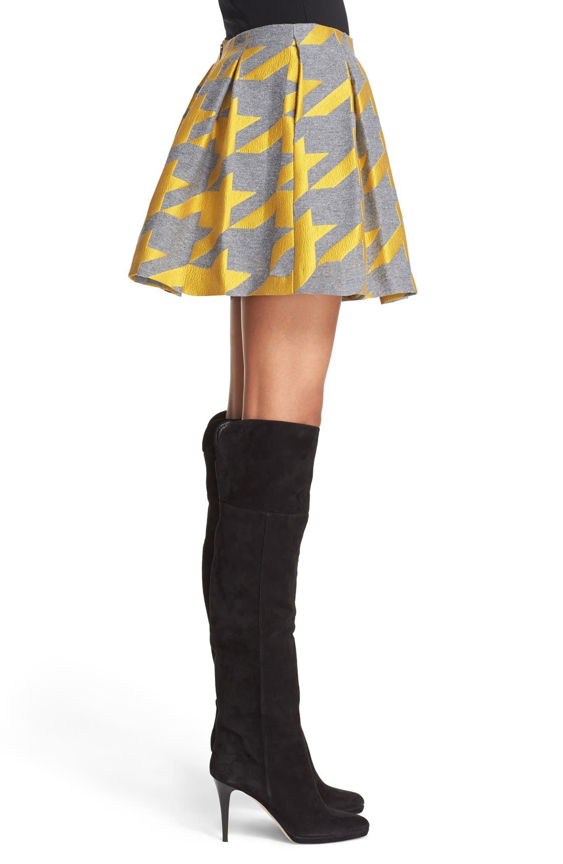 ALICE + OLIVIA,                             'Connor' Oversize Houndstooth Lampshade Skirt,                             Alternate thumbnail 6, color,                             700