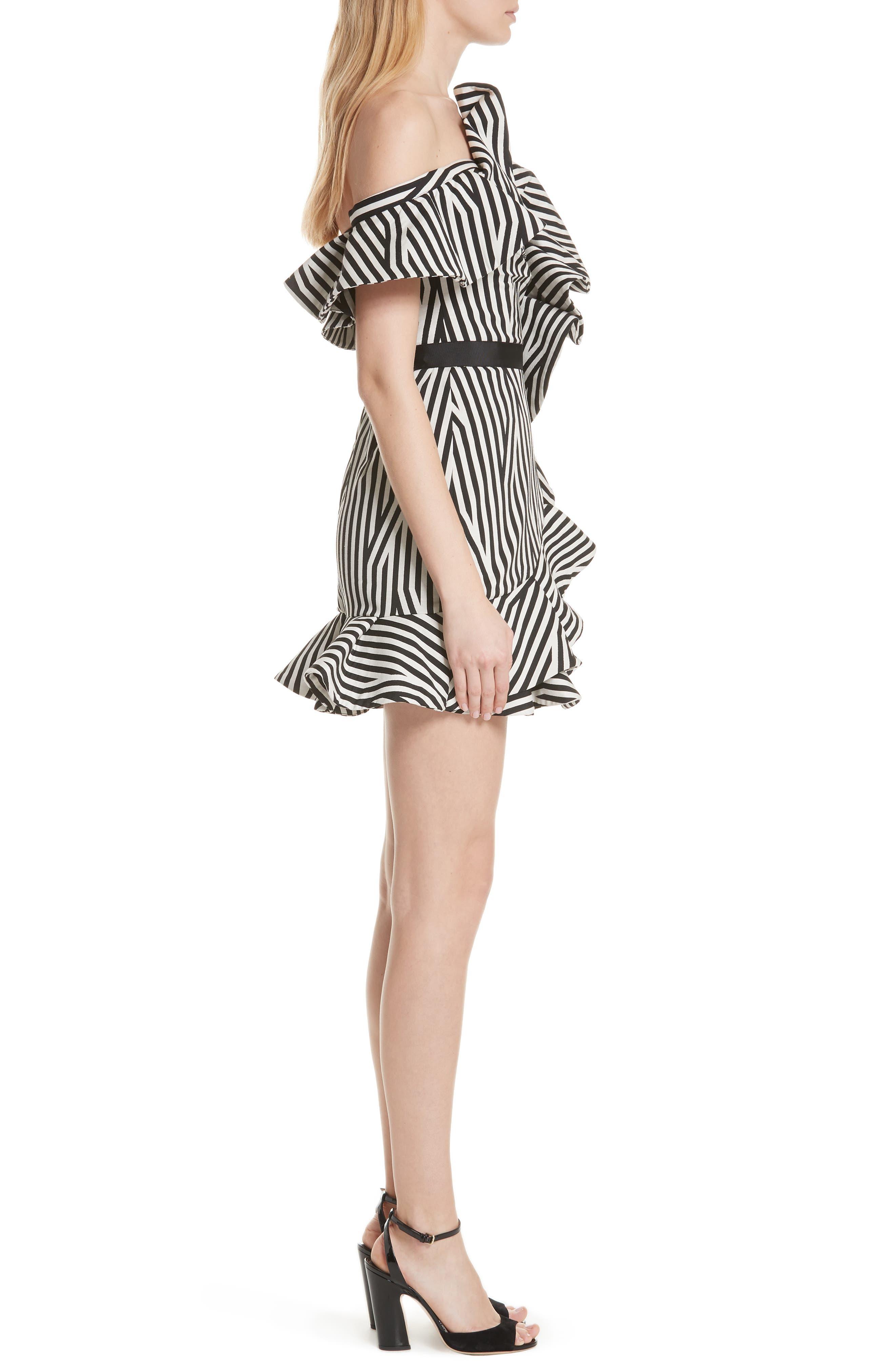 Abstract Stripe Asymmetrical Dress,                             Alternate thumbnail 3, color,                             001