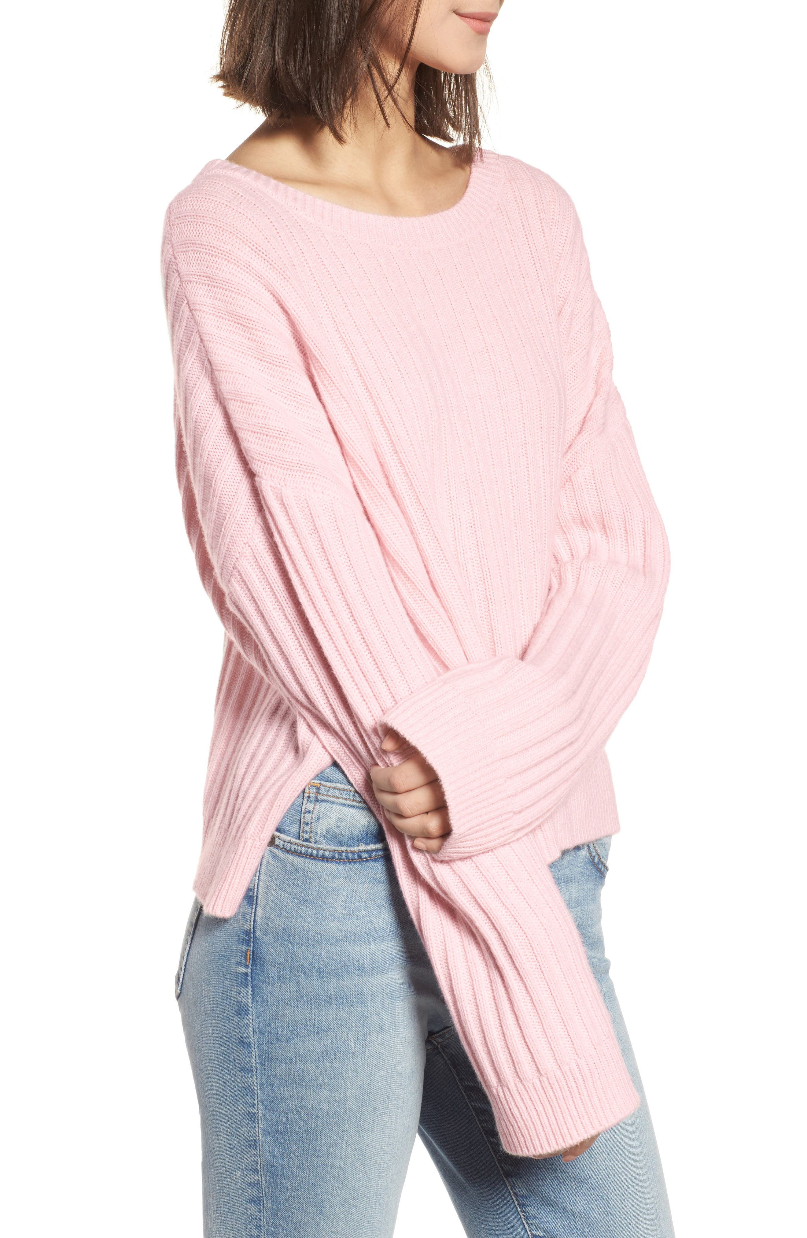 Joelle Rib Wool & Cashmere Sweater,                             Alternate thumbnail 3, color,                             673