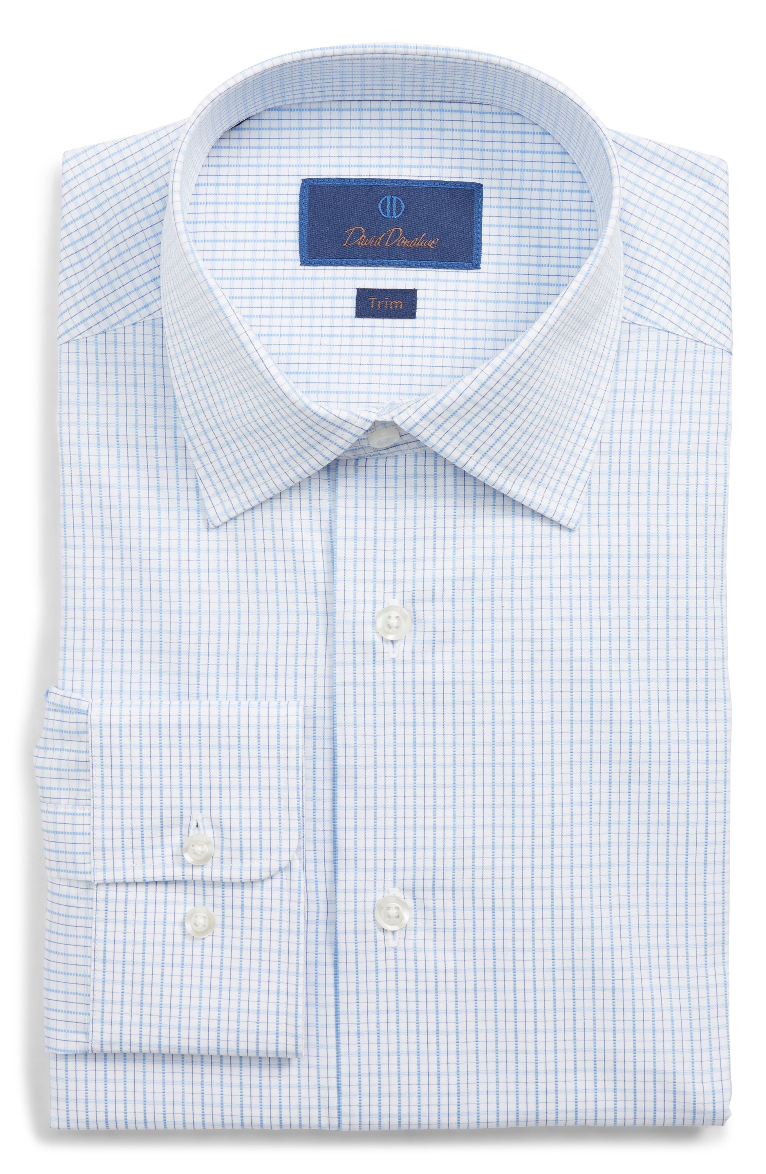 Trim Fit Check Dress Shirt,                             Main thumbnail 1, color,                             BLUE