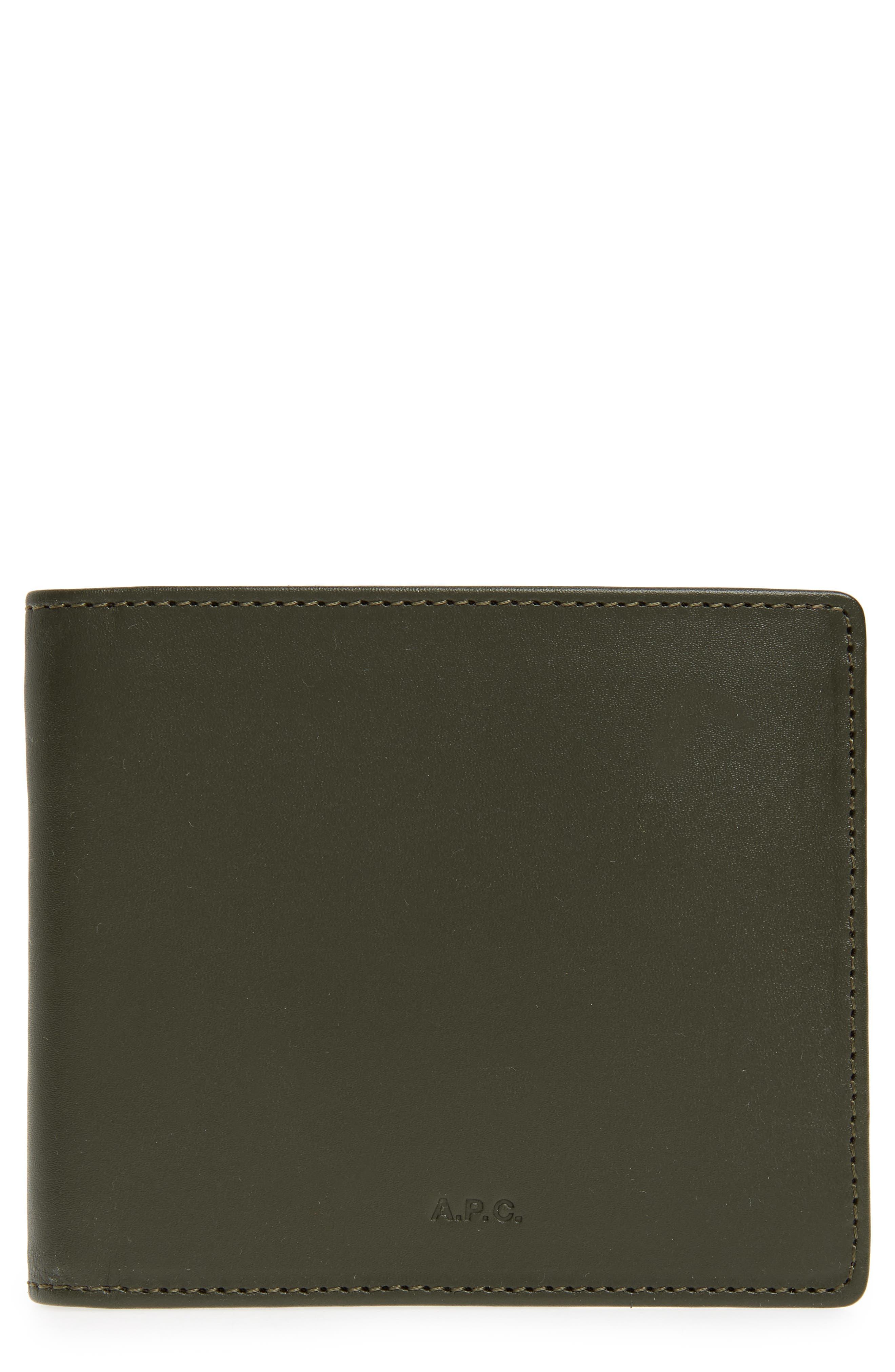 Aly Bifold Leather Wallet,                             Main thumbnail 1, color,                             KHAKI
