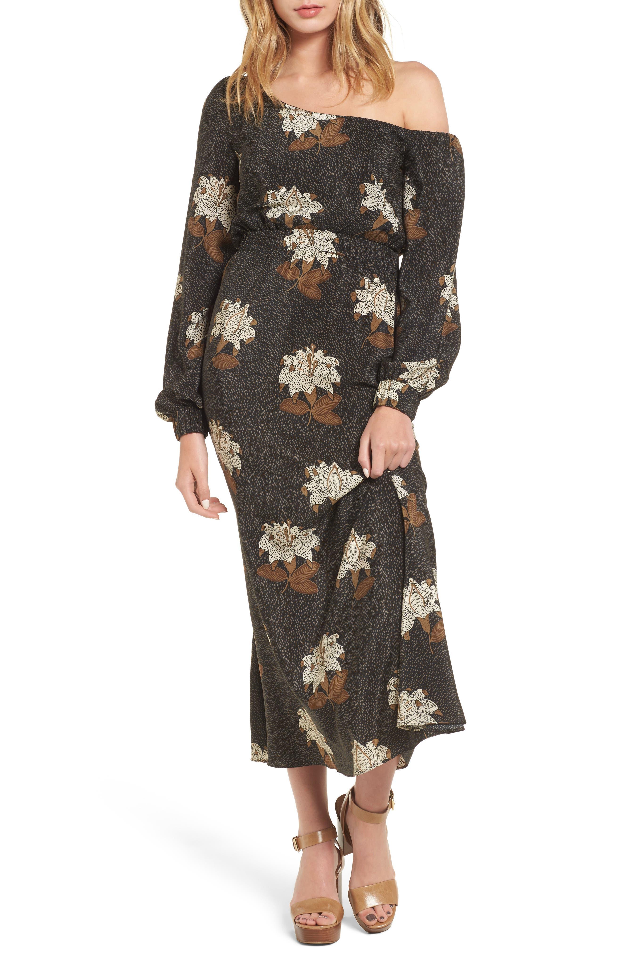 Johnny One-Shoulder Silk Dress,                             Main thumbnail 1, color,                             001