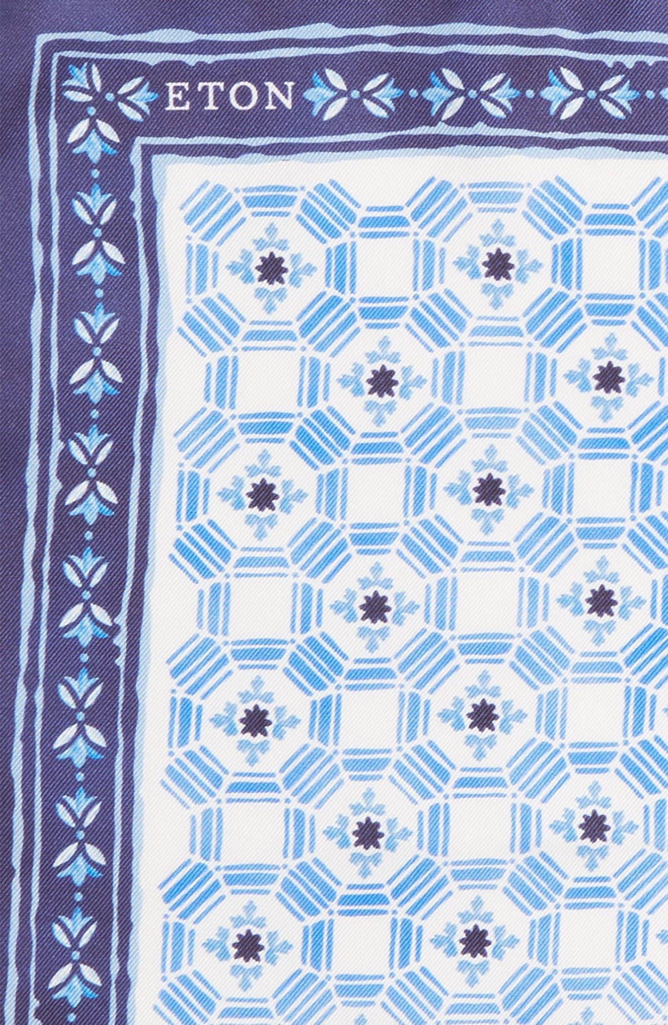 Medallion Silk Pocket Square,                             Alternate thumbnail 3, color,                             NAVY \ BLUE