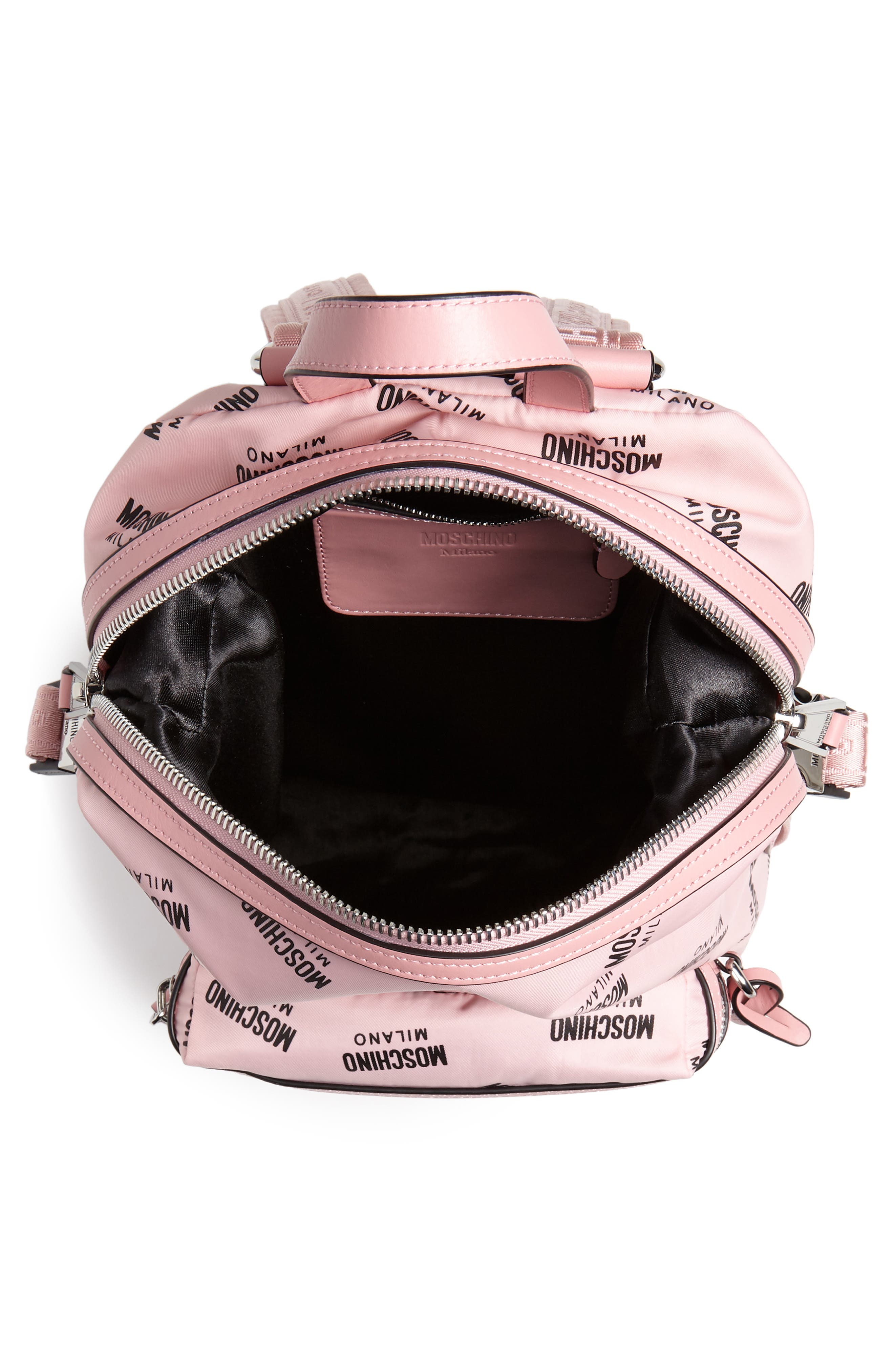 MOSCHINO,                             Small Logo Backpack,                             Alternate thumbnail 4, color,                             PINK