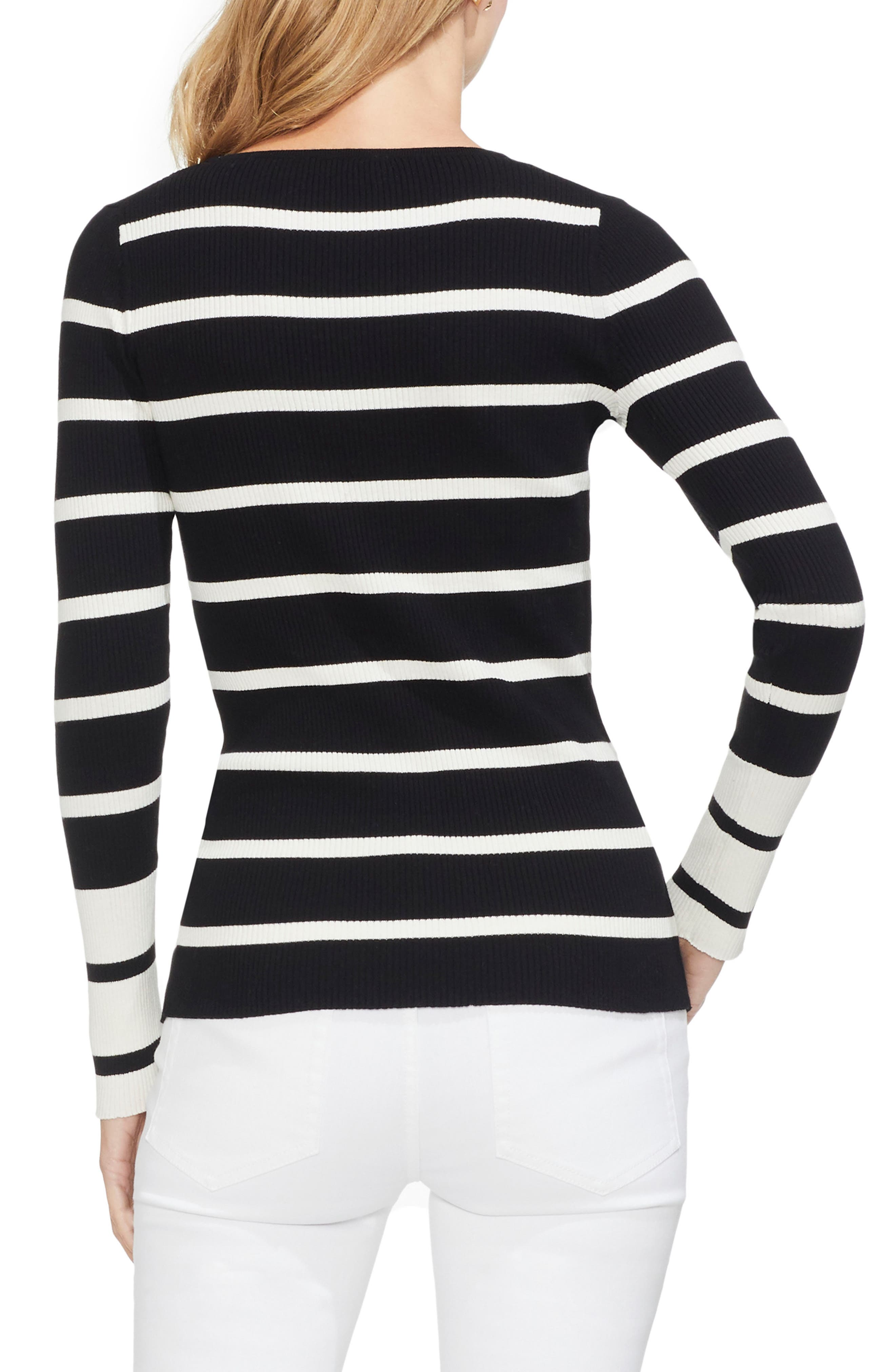 Ribbed Stripe Sweater,                             Alternate thumbnail 2, color,                             RICH BLACK