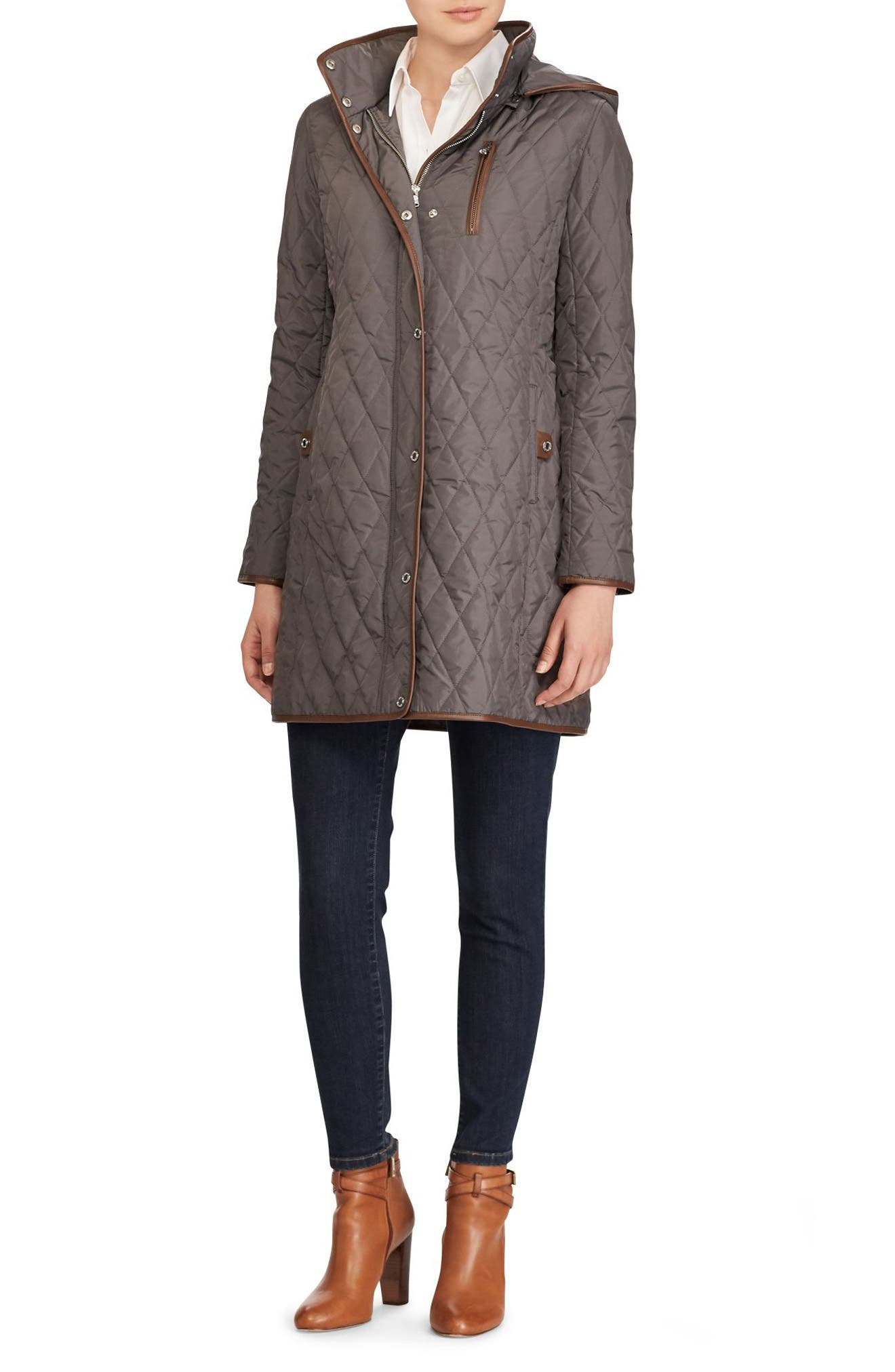Faux Leather Trim Quilted Coat,                             Alternate thumbnail 3, color,                             113