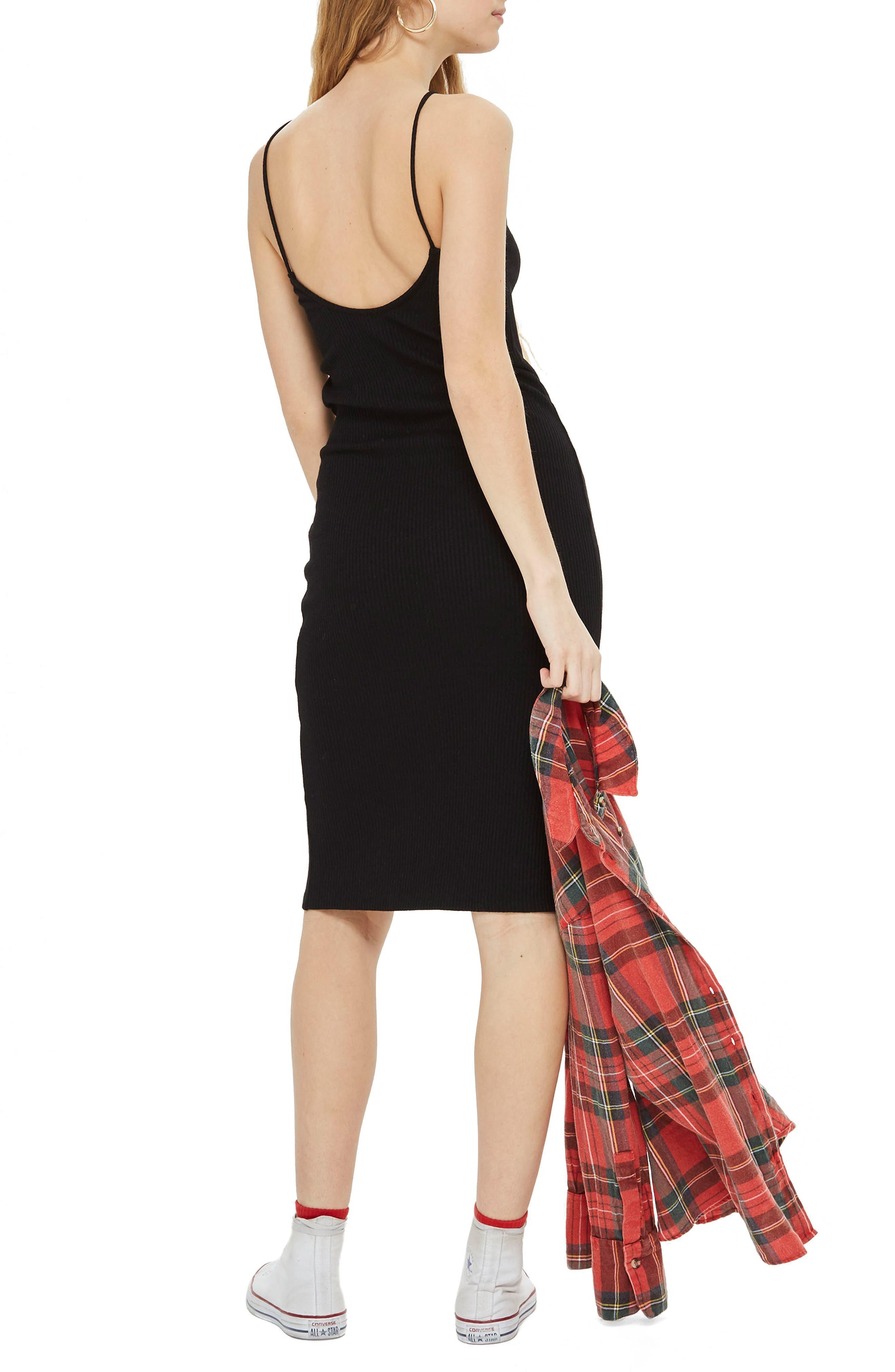 Scoop Back Ribbed Midi Dress,                             Alternate thumbnail 2, color,                             001