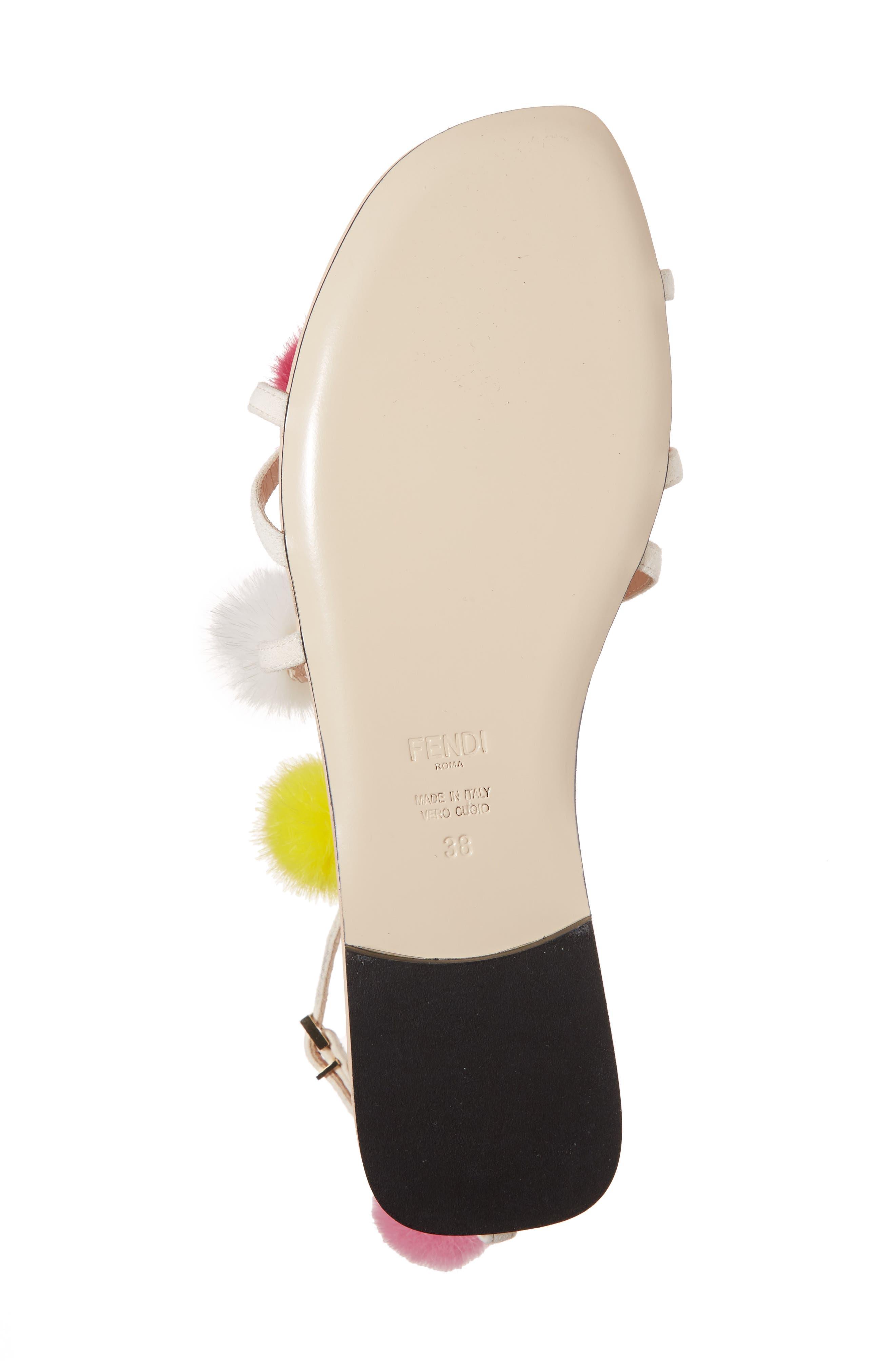 Genuine Mink Fur Pompom Gladiator Sandal,                             Alternate thumbnail 6, color,                             250