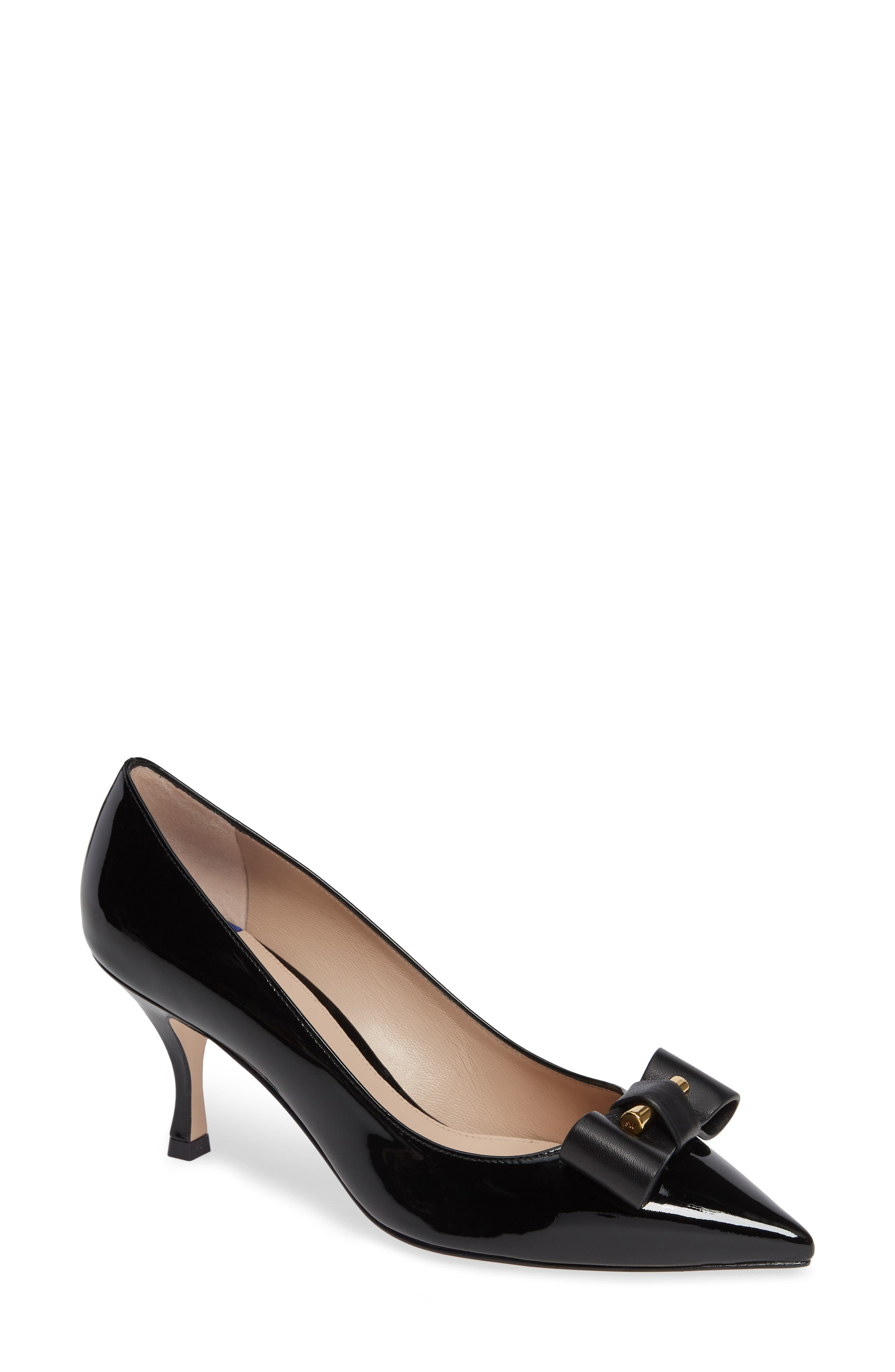 Belle Pointe Shiny Leather Bow Mid-Heel Pumps in Black Cristal