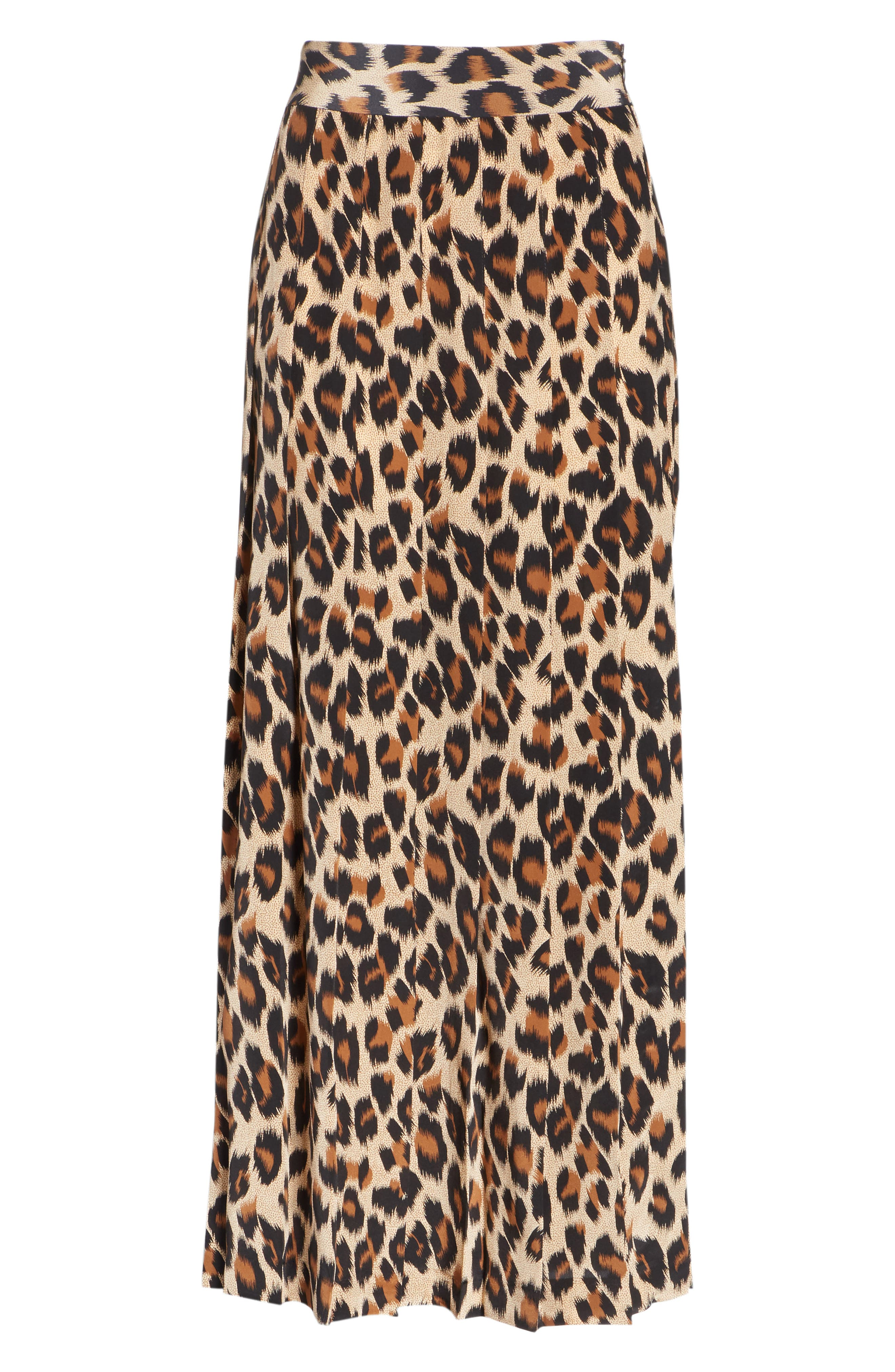Leopard Print Pleated Silk Skirt,                             Alternate thumbnail 6, color,                             LEOPARD