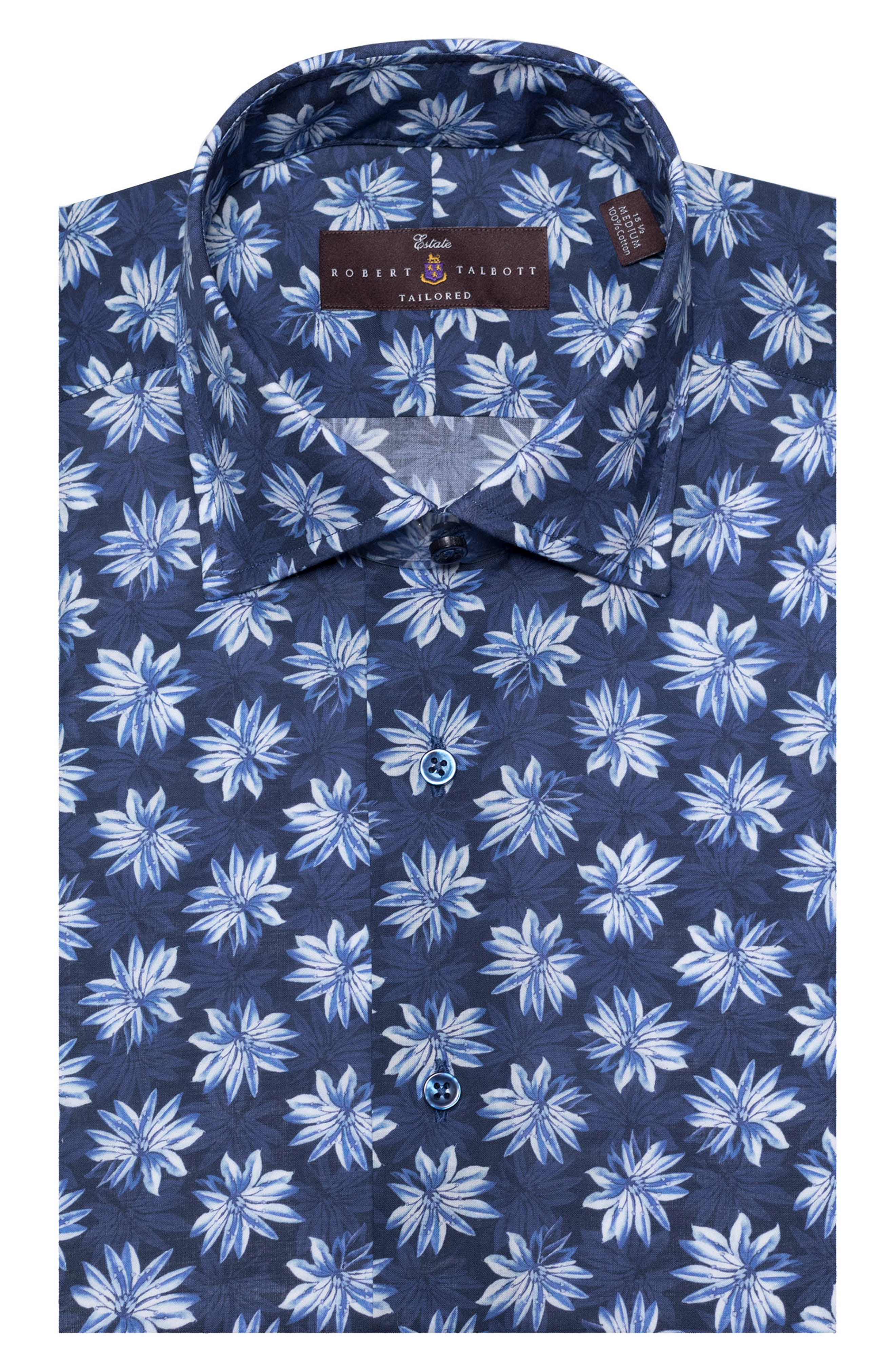 Tailored Fit Floral Dress Shirt,                         Main,                         color, PACIFIC