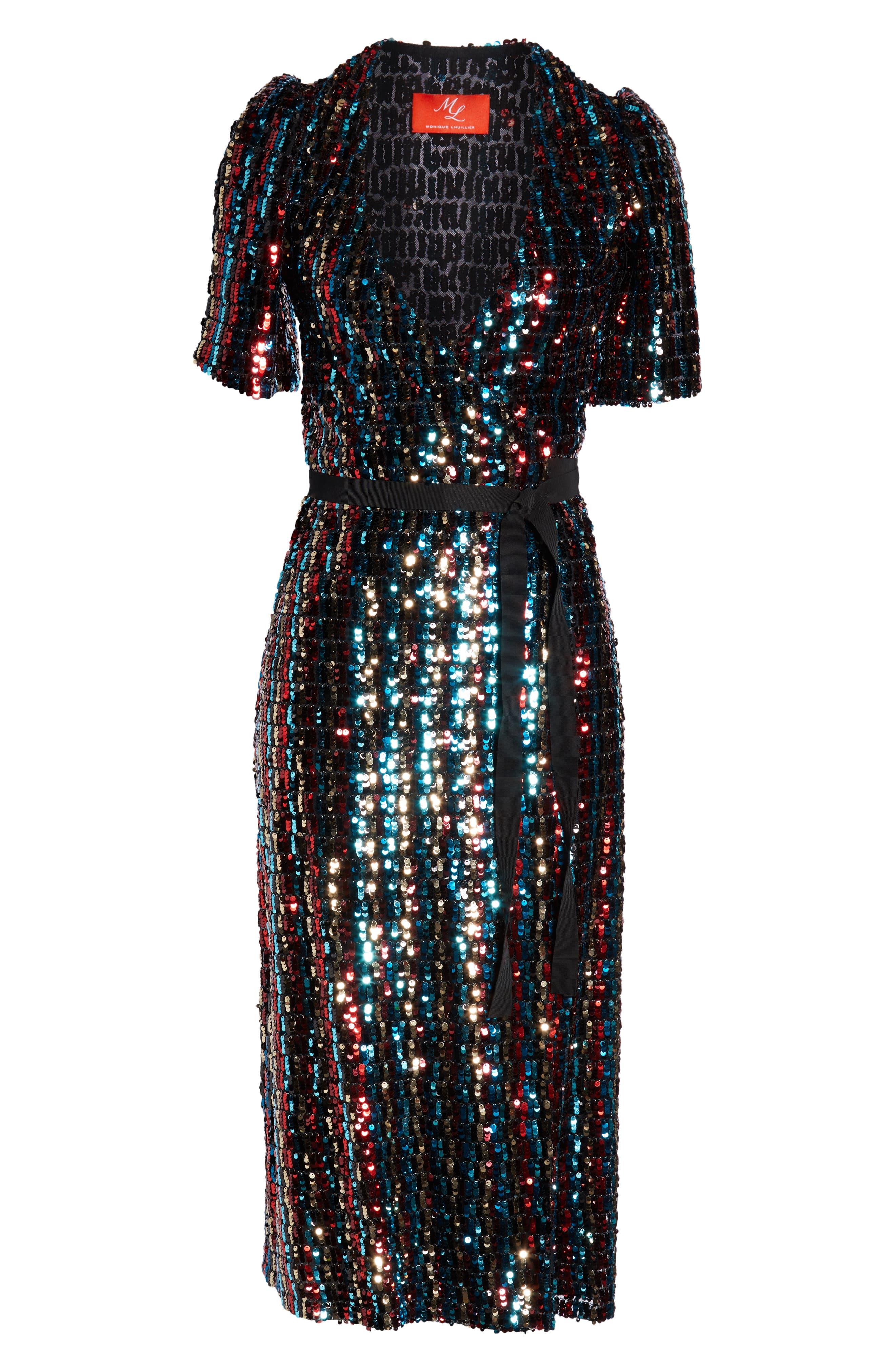 Multicolor Sequin Wrap Dress,                             Alternate thumbnail 8, color,                             MERLOT GOLD