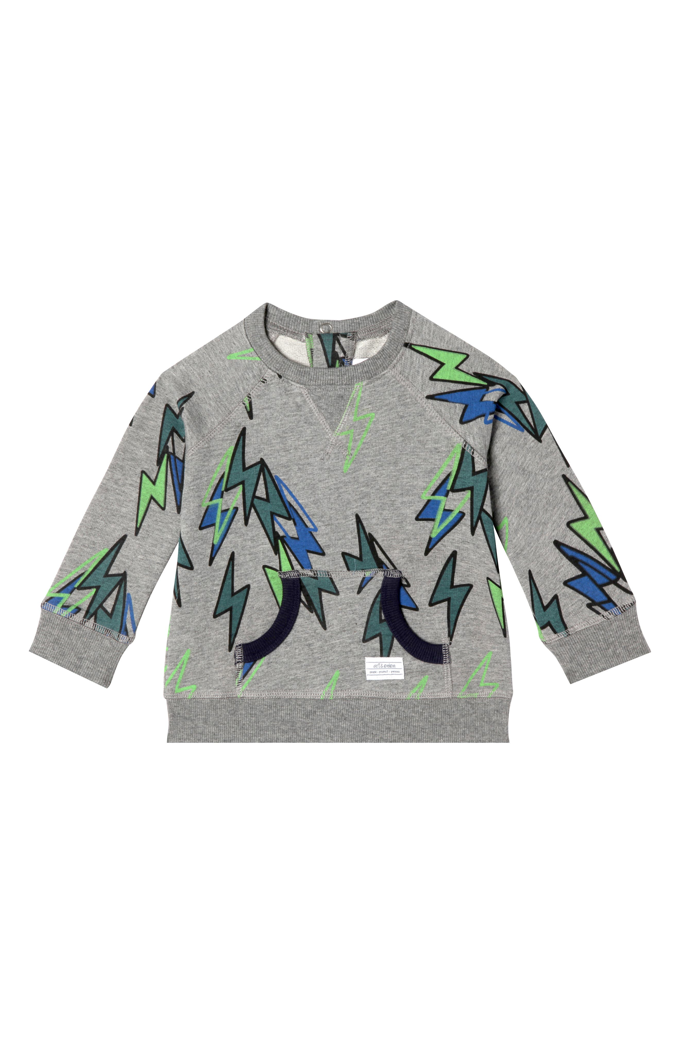 Eli Organic Cotton Sweatshirt,                             Main thumbnail 1, color,                             LIGHTING BOLT
