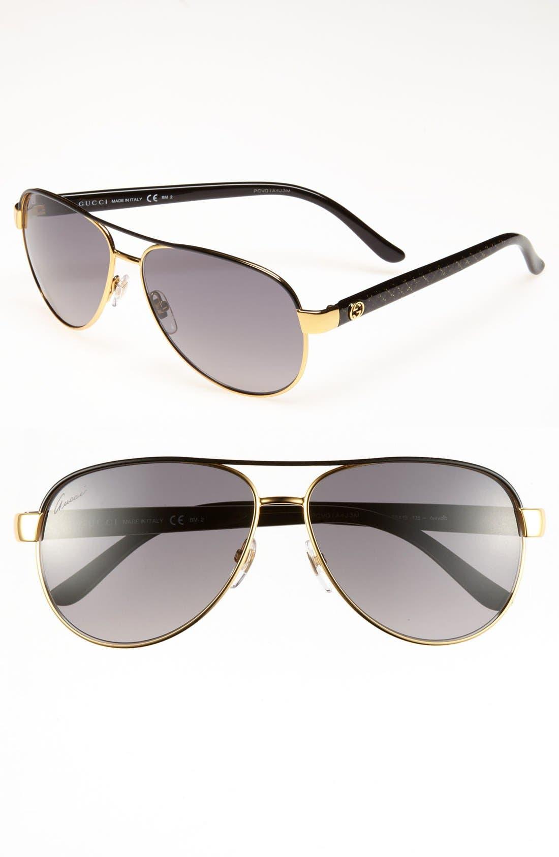 Metal 58mm Aviator Sunglasses,                             Main thumbnail 1, color,                             001