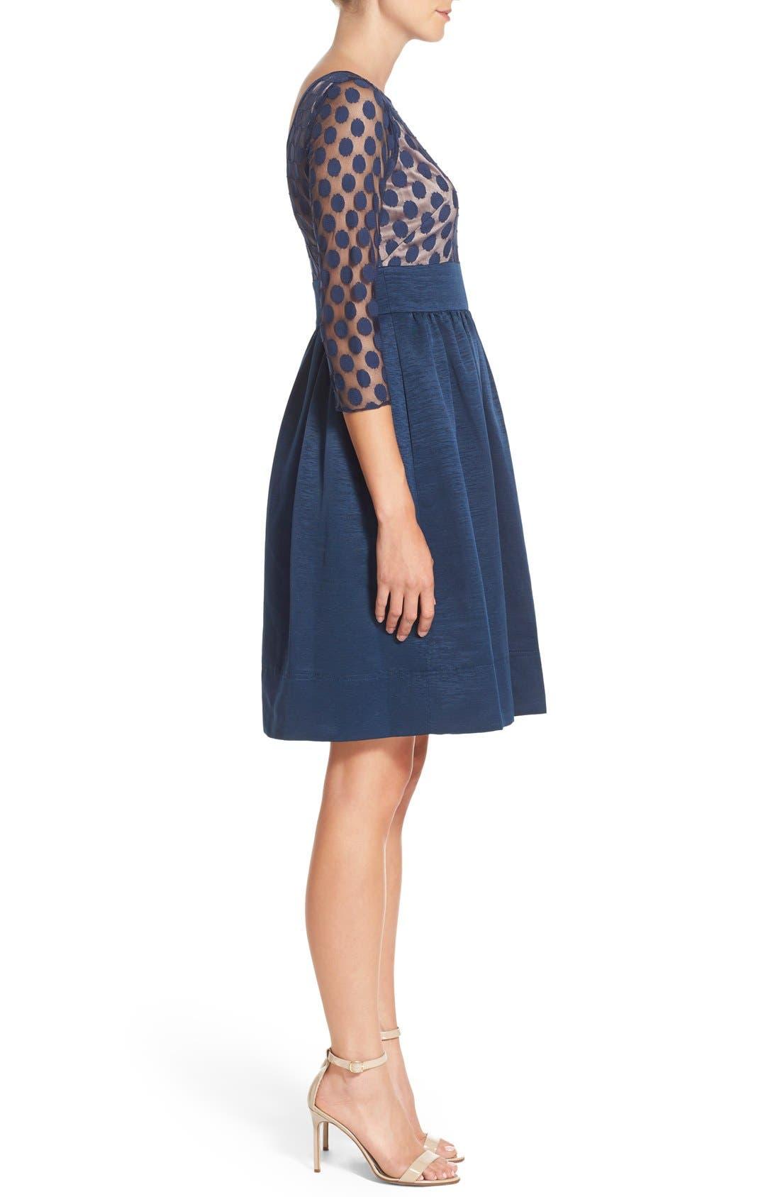 Dot Mesh Bodice Fit & Flare Dress,                             Alternate thumbnail 9, color,