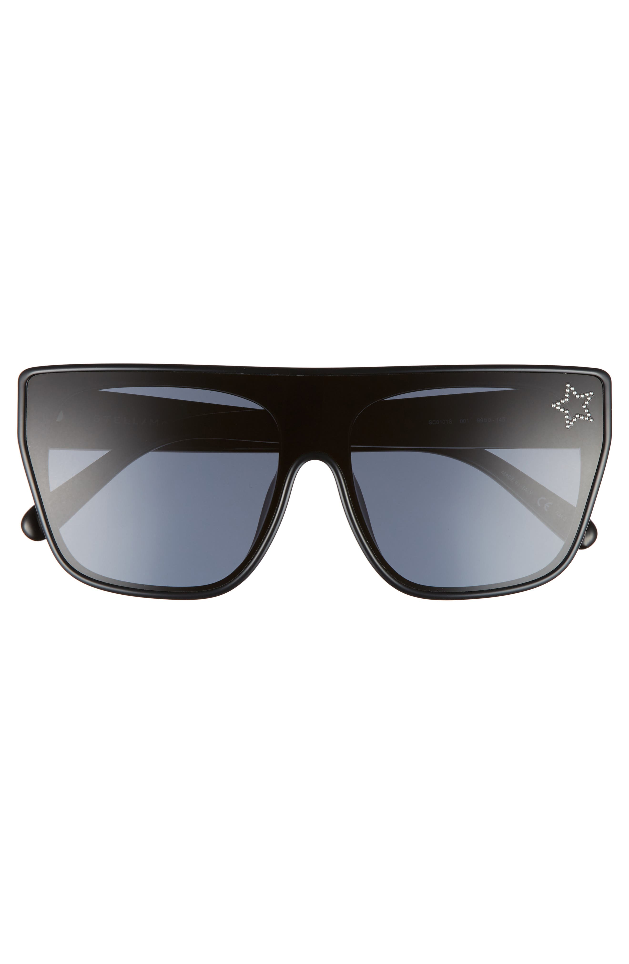 99mm Flat Top Sunglasses,                             Alternate thumbnail 3, color,                             BLACK