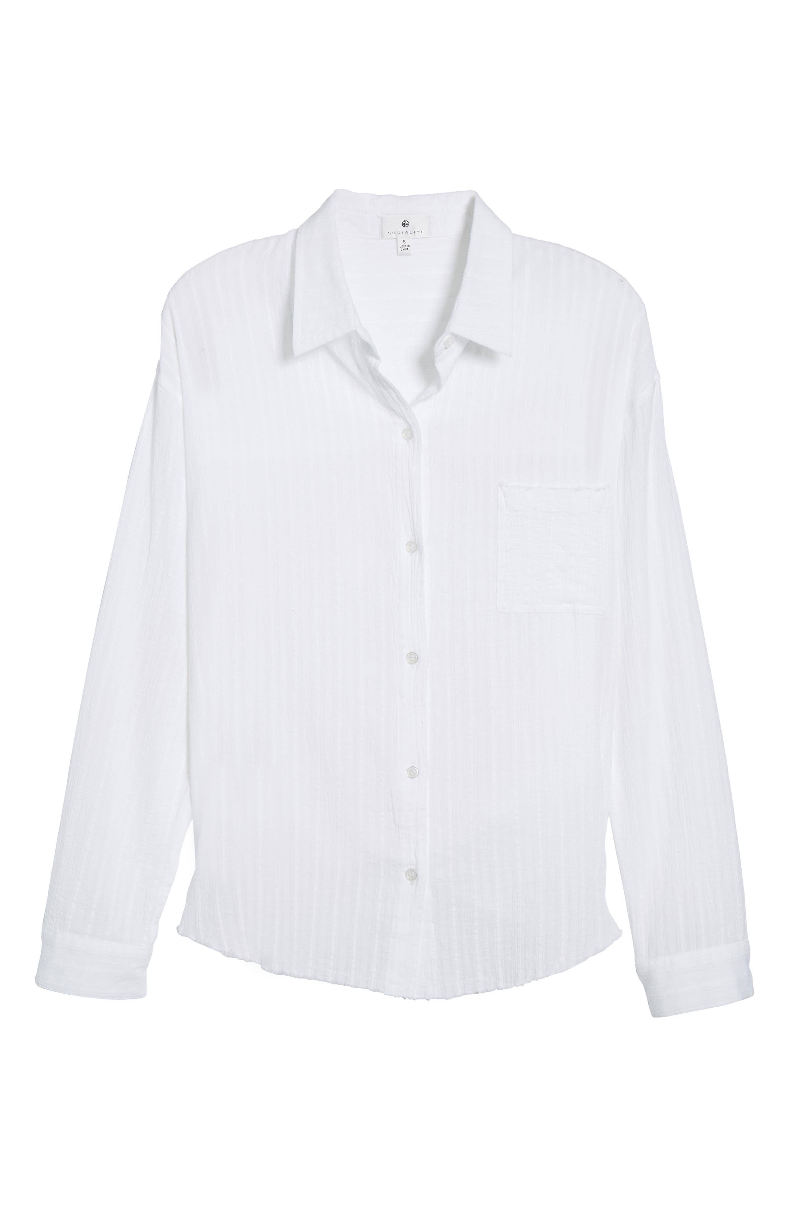 Raw Hem Shirt,                             Alternate thumbnail 6, color,                             100