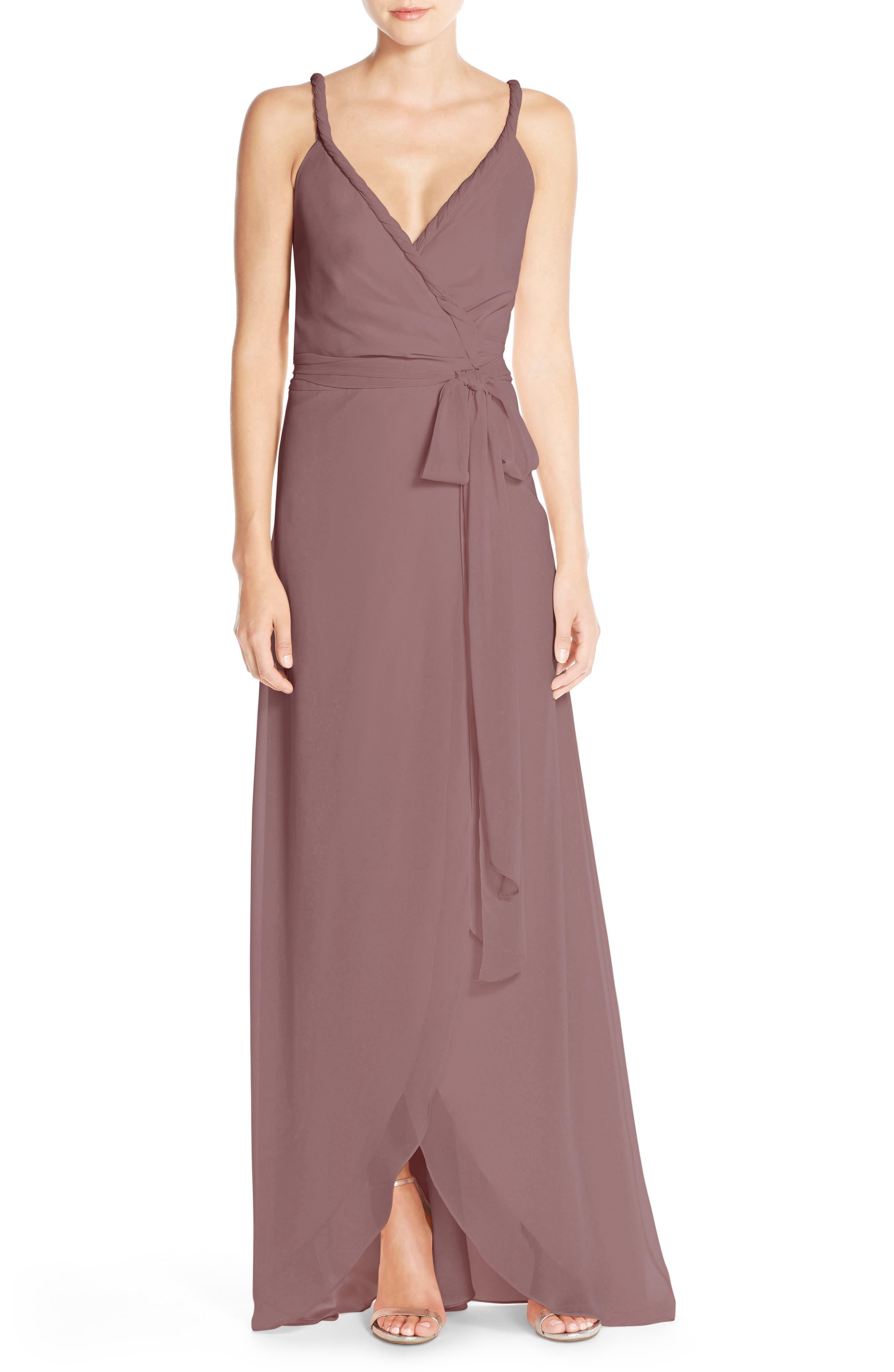 JOANNA AUGUST,                             Parker Twist Strap ChiffonWrap Gown,                             Alternate thumbnail 2, color,                             652